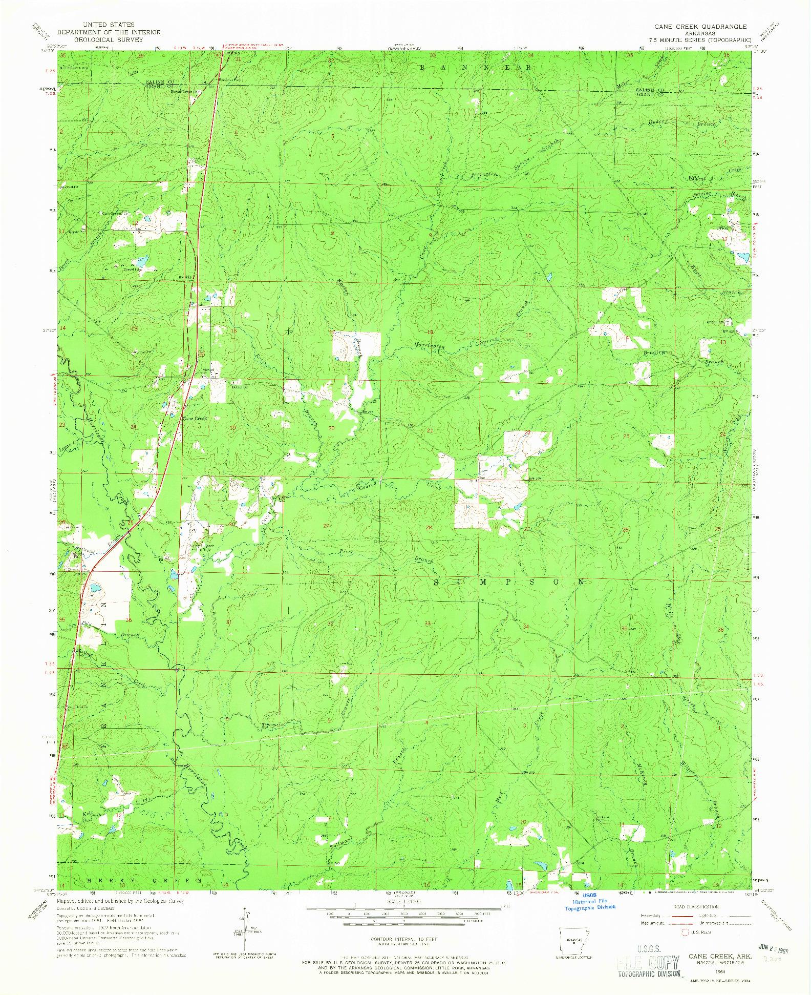 USGS 1:24000-SCALE QUADRANGLE FOR CANE CREEK, AR 1964