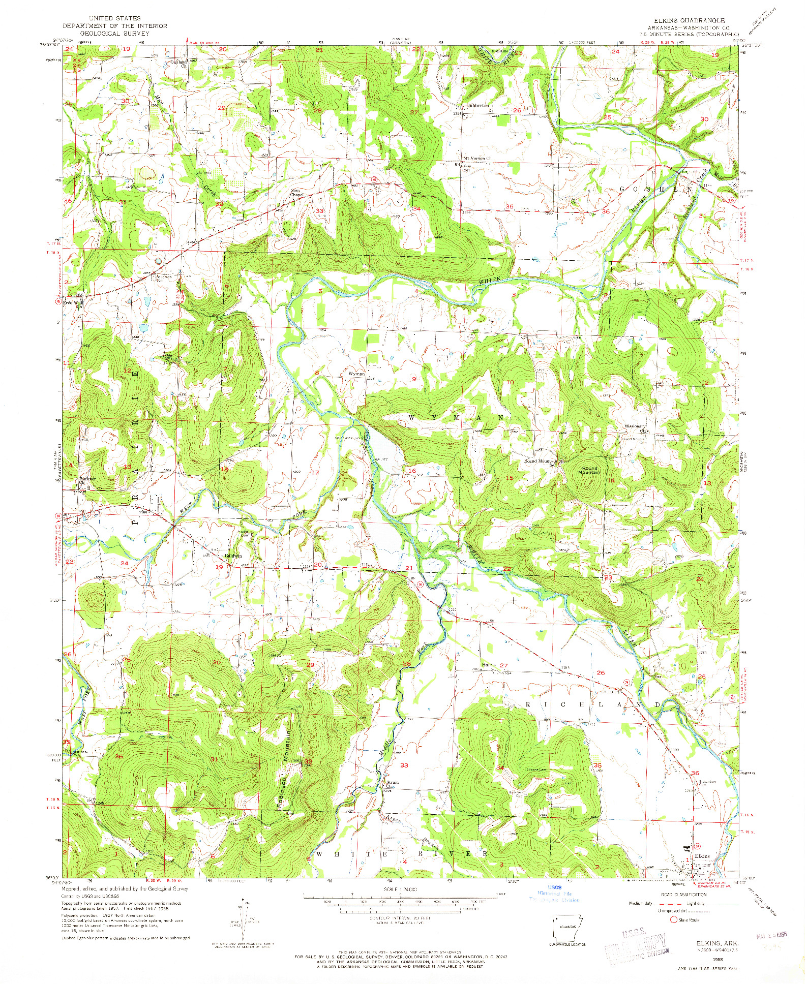 USGS 1:24000-SCALE QUADRANGLE FOR ELKINS, AR 1958