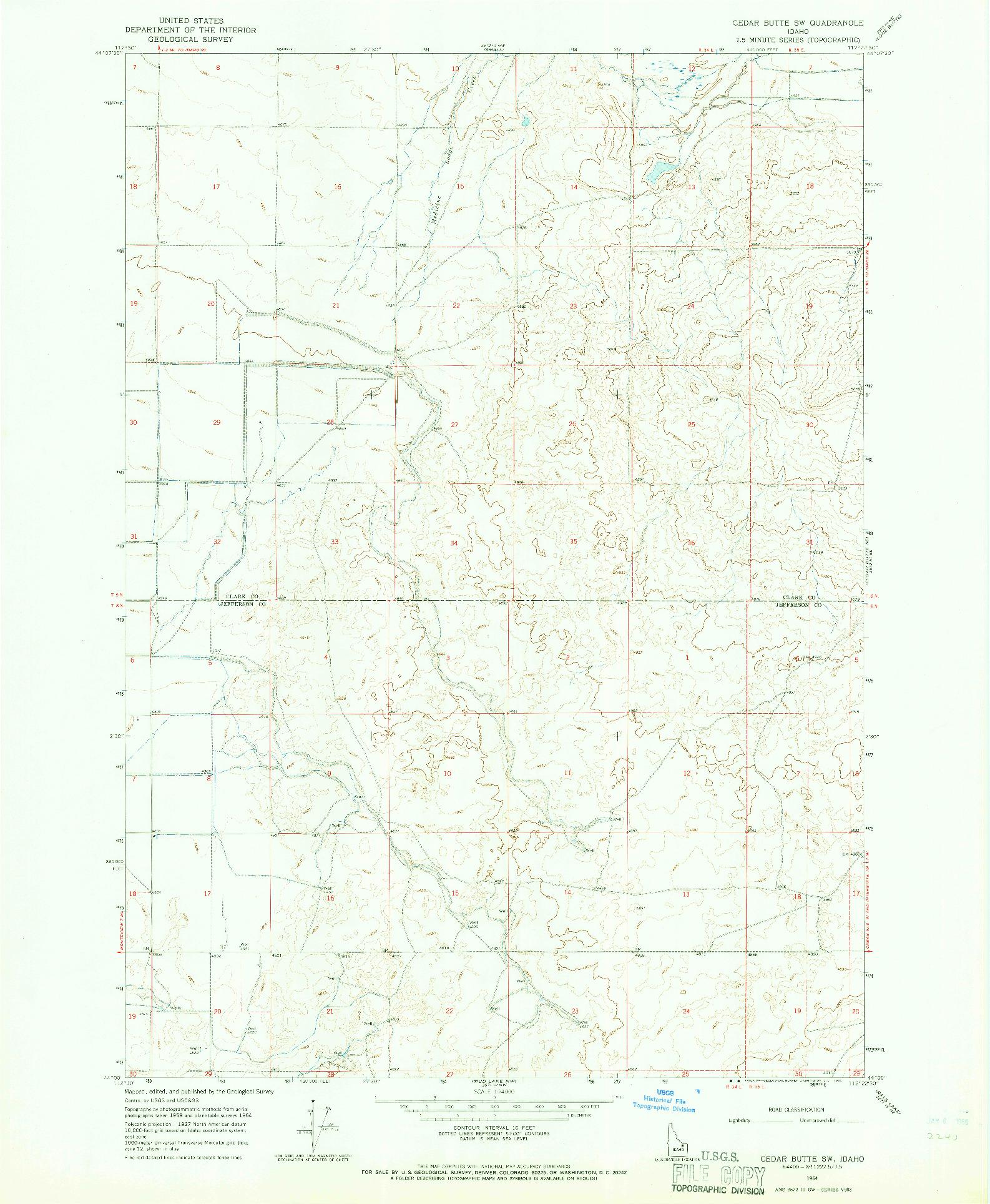 USGS 1:24000-SCALE QUADRANGLE FOR CEDAR BUTTE SW, ID 1964