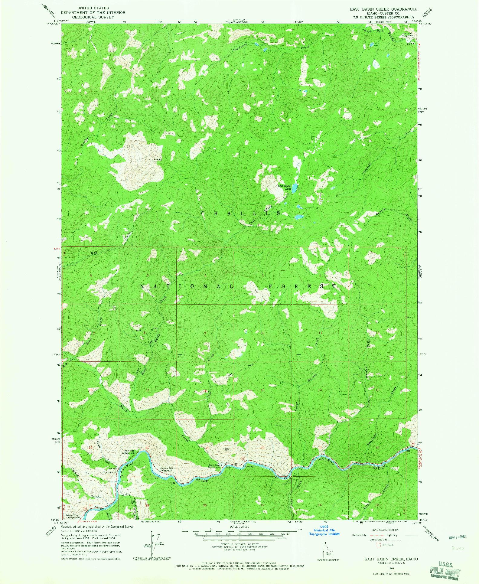 USGS 1:24000-SCALE QUADRANGLE FOR EAST BASIN CREEK, ID 1964
