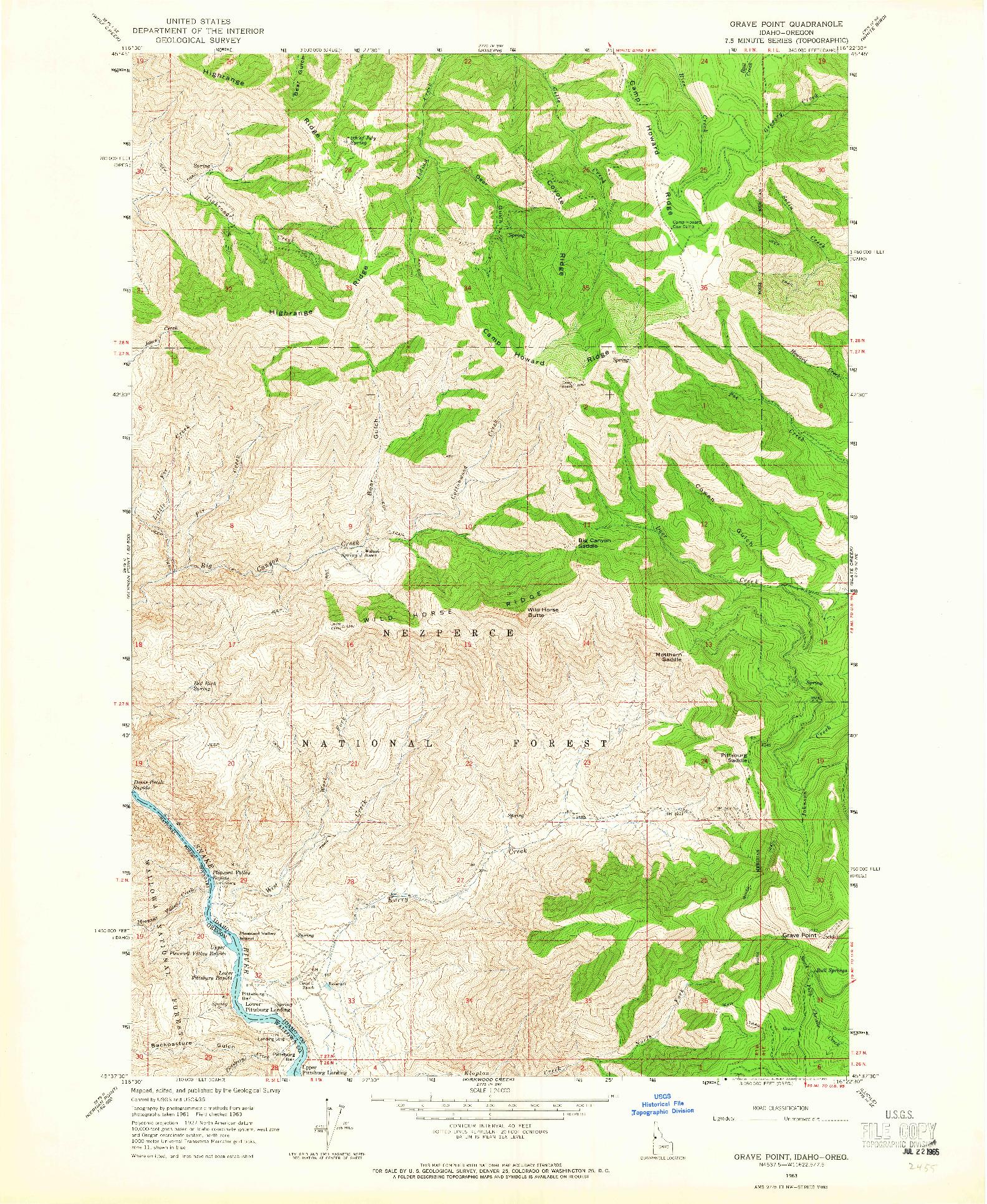 USGS 1:24000-SCALE QUADRANGLE FOR GRAVE POINT, ID 1963