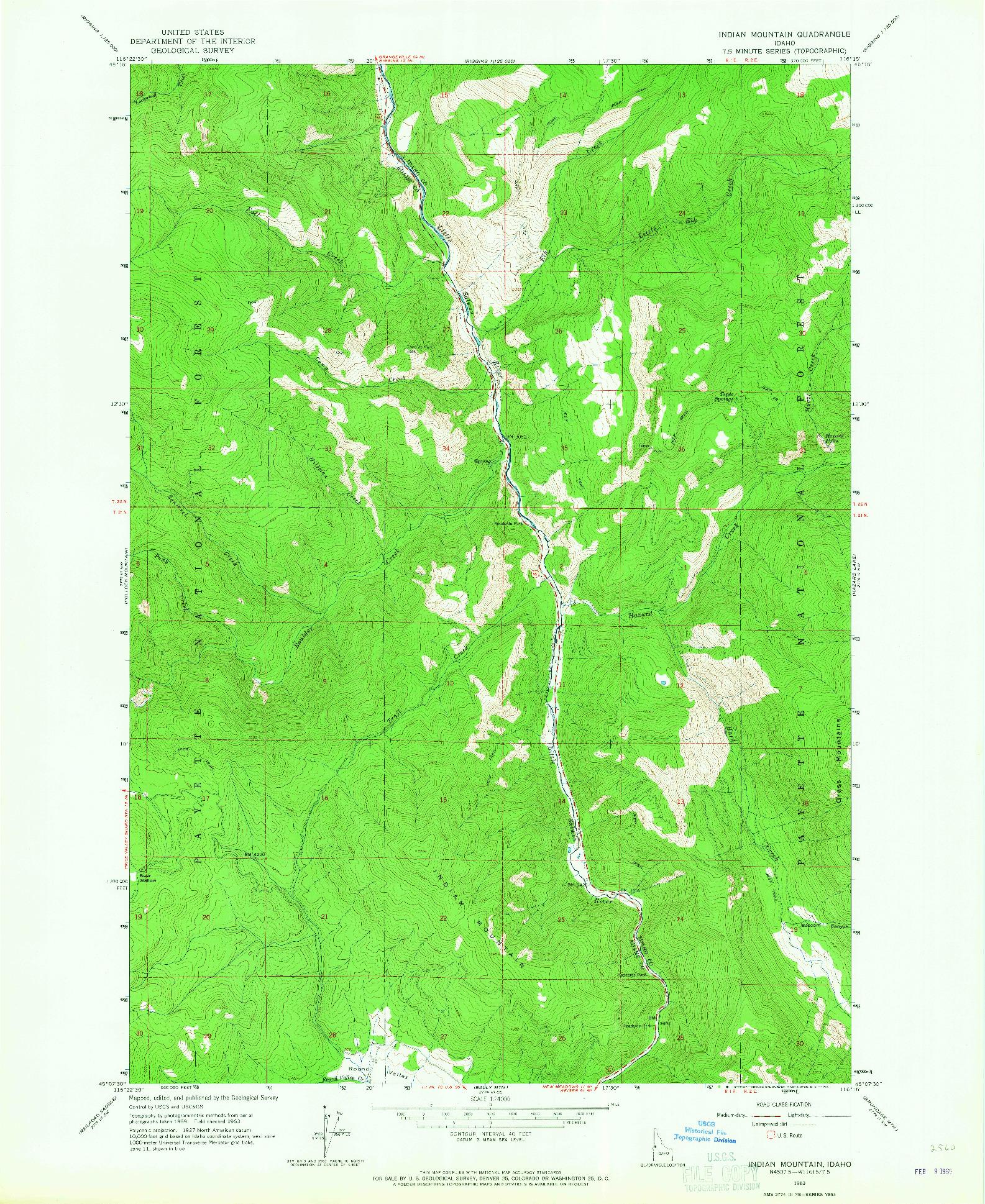USGS 1:24000-SCALE QUADRANGLE FOR INDIAN MOUNTAIN, ID 1963