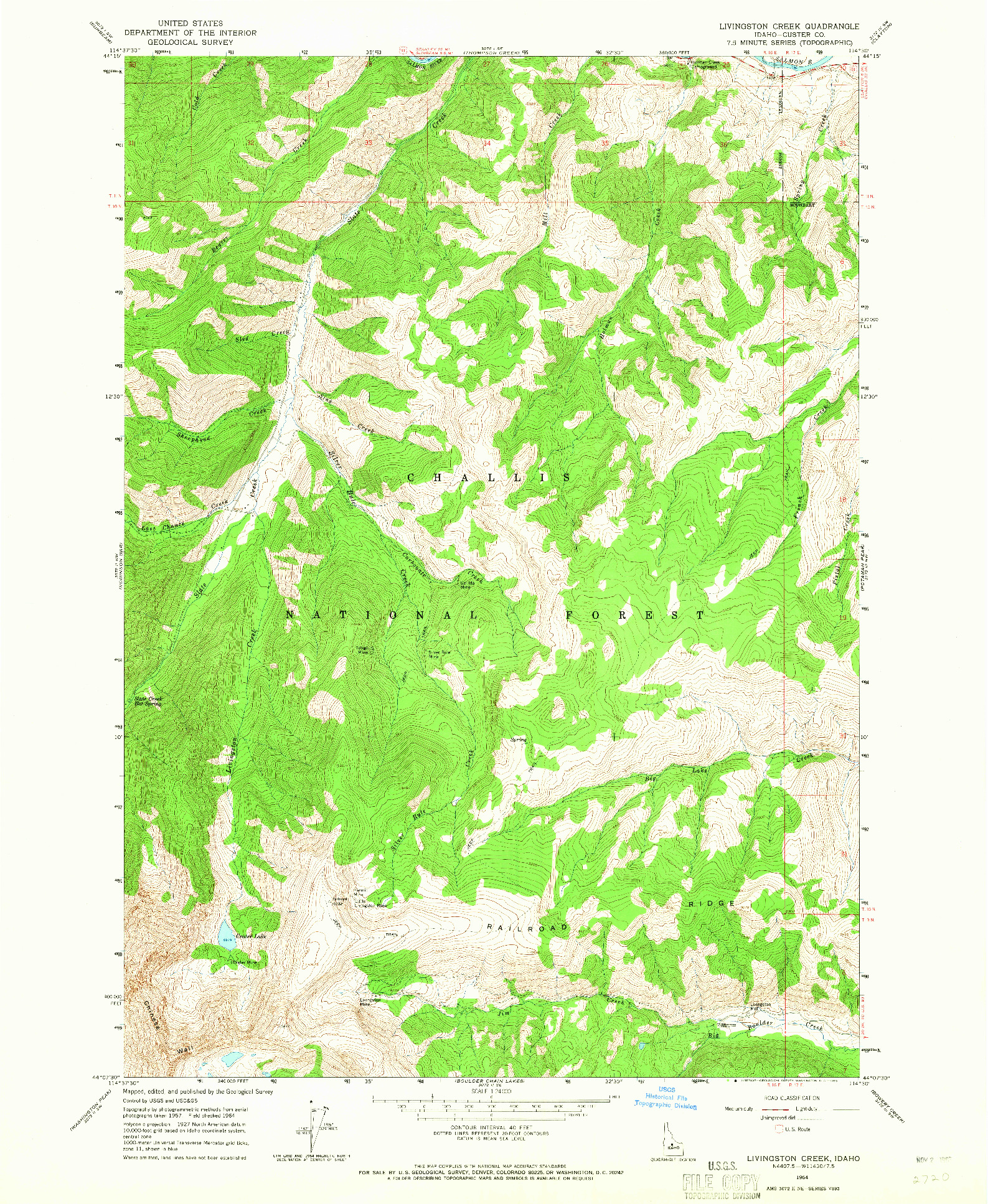 USGS 1:24000-SCALE QUADRANGLE FOR LIVINGSTON CREEK, ID 1964