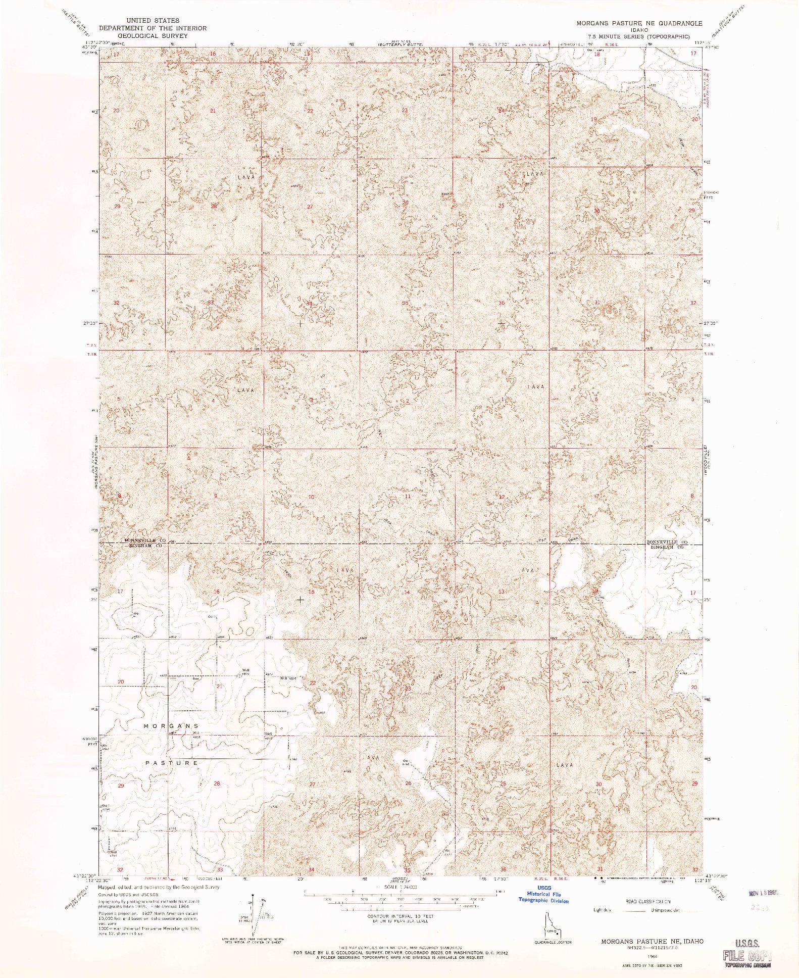 USGS 1:24000-SCALE QUADRANGLE FOR MORGANS PASTURE NE, ID 1964