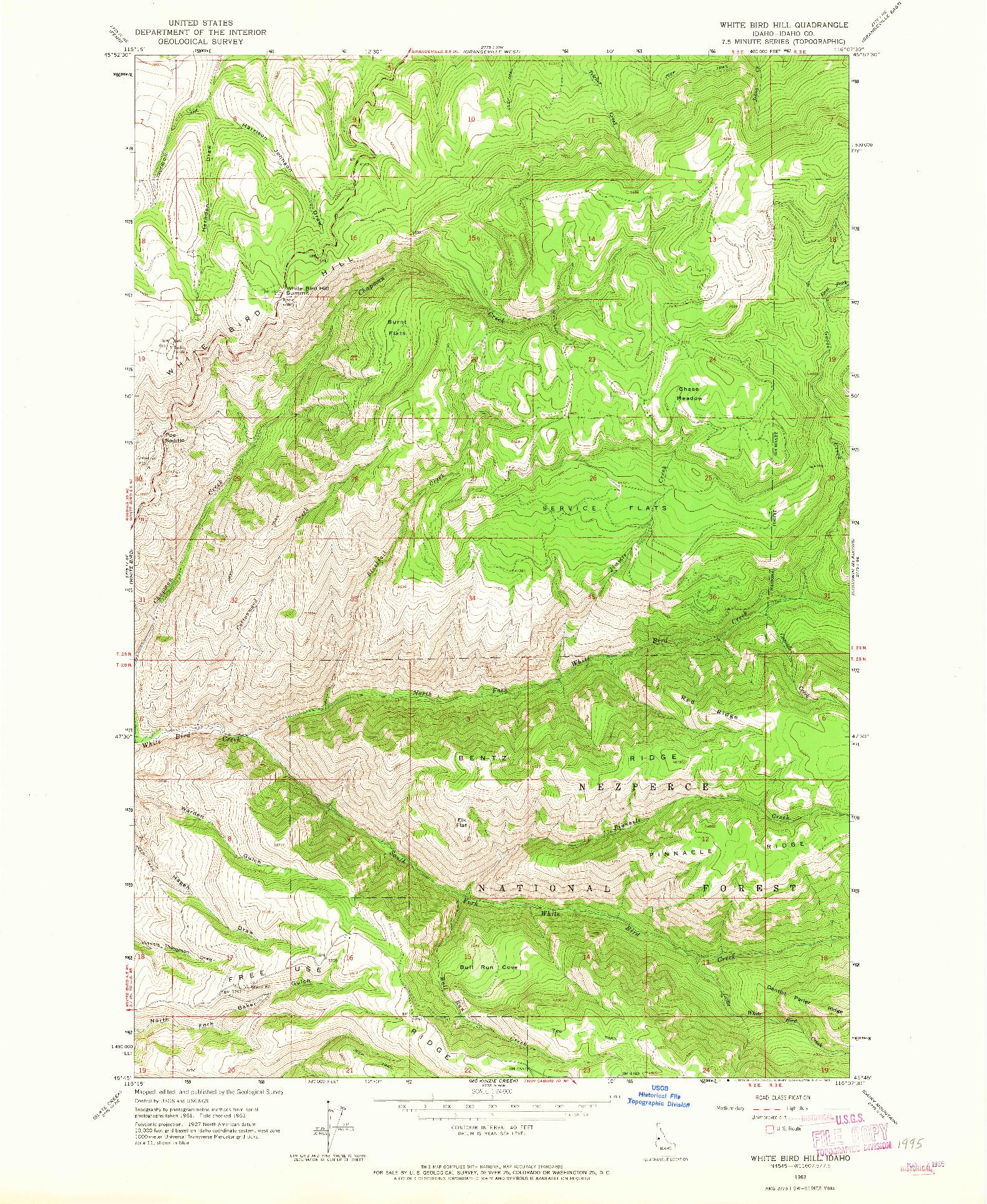 Usgs 1 24000 Scale Quadrangle For White Bird Hill Id 1963