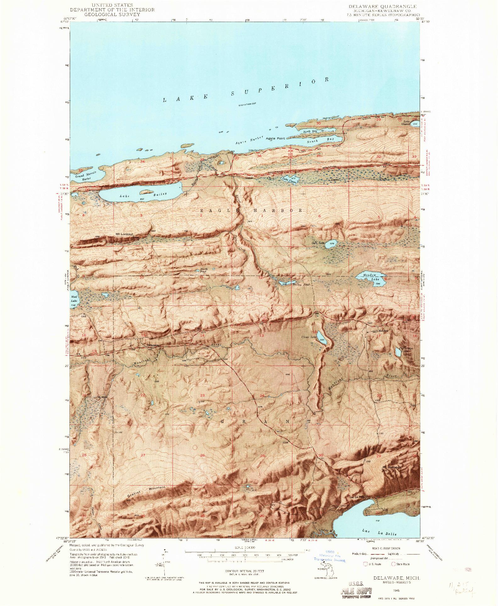 USGS 1:24000-SCALE QUADRANGLE FOR DELAWARE, MI 1948