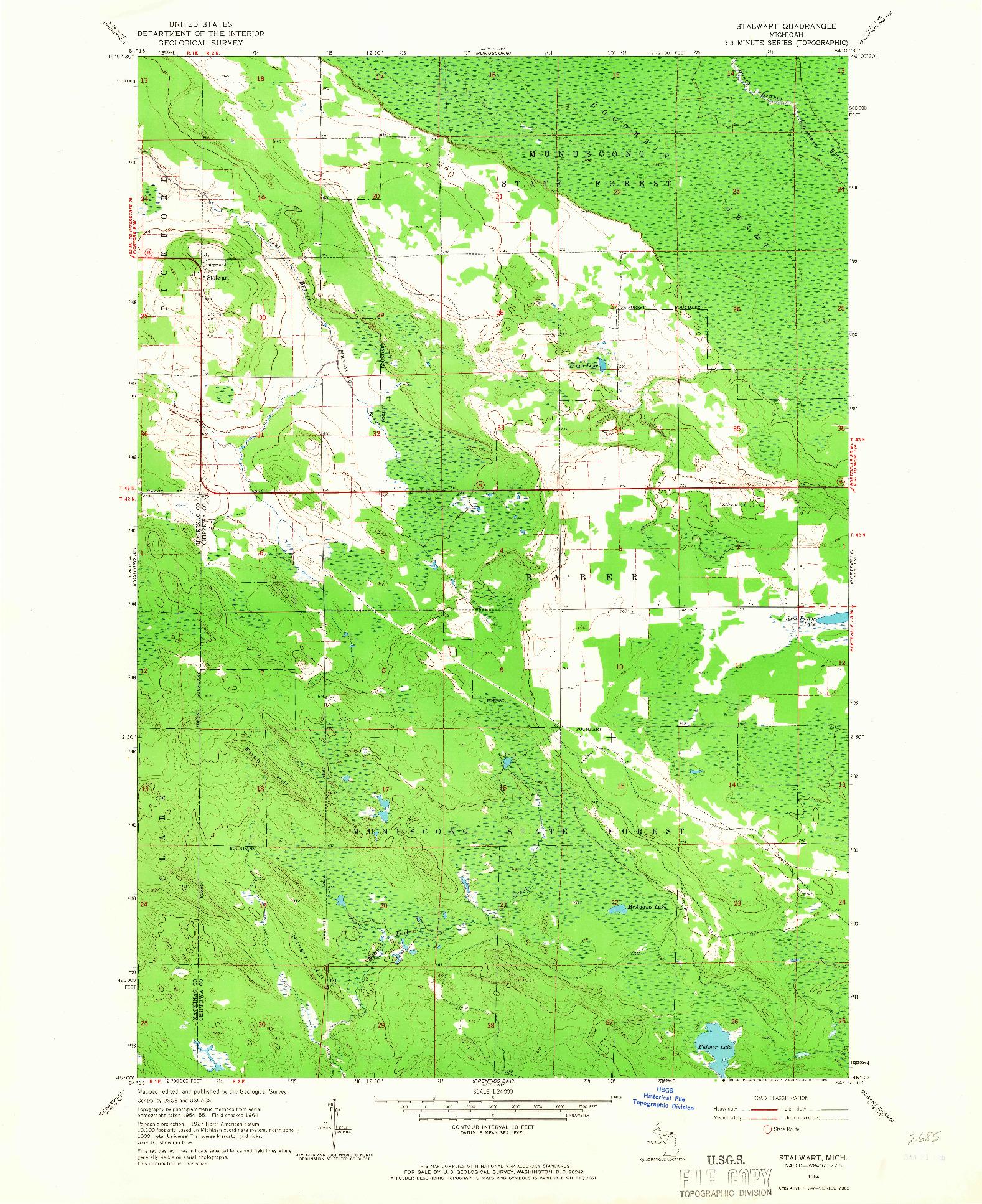 USGS 1:24000-SCALE QUADRANGLE FOR STALWART, MI 1964