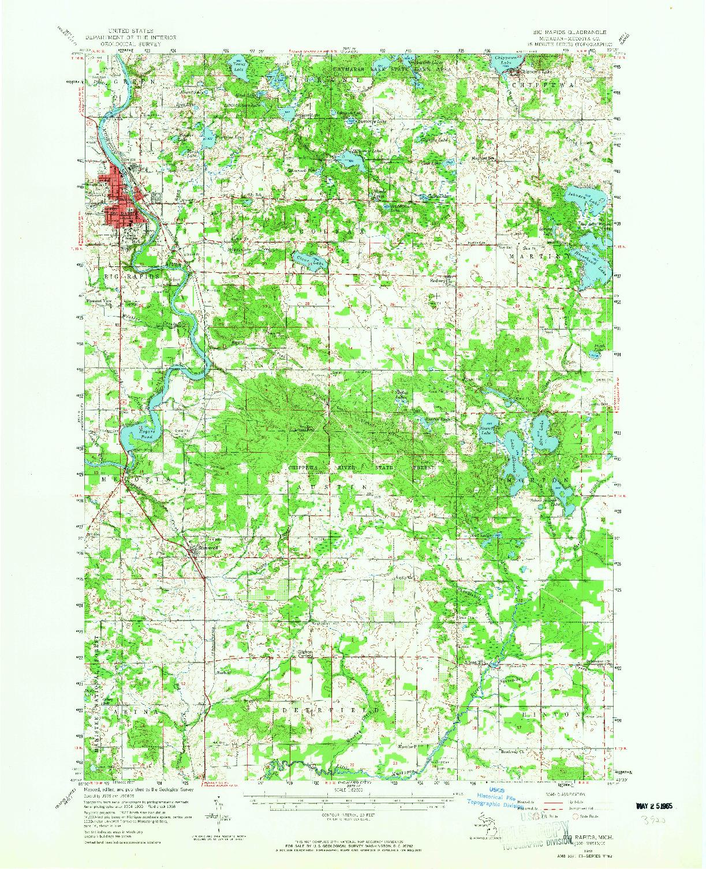 USGS 1:62500-SCALE QUADRANGLE FOR BIG RAPIDS, MI 1958