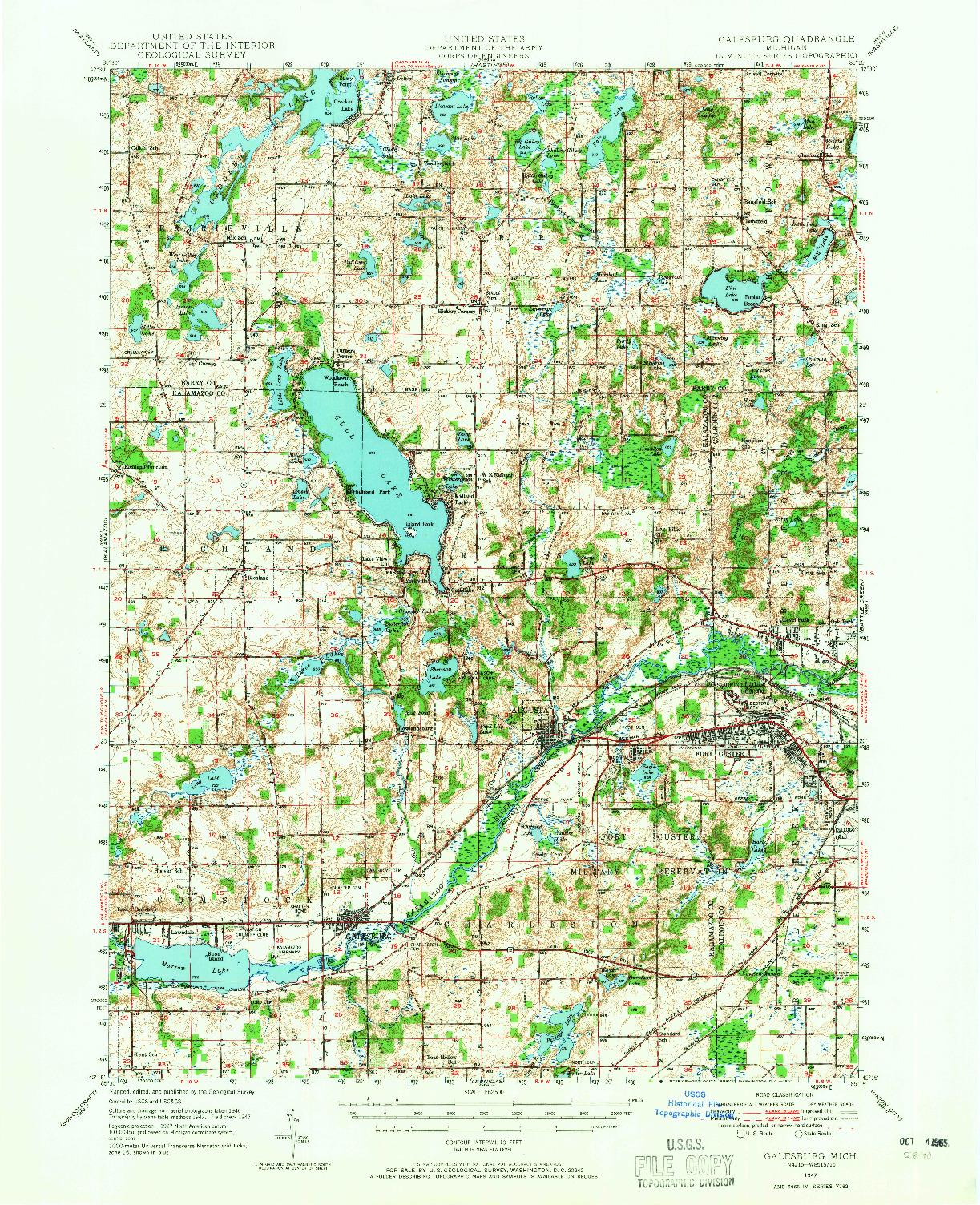 USGS 1:62500-SCALE QUADRANGLE FOR GALESBURG, MI 1947