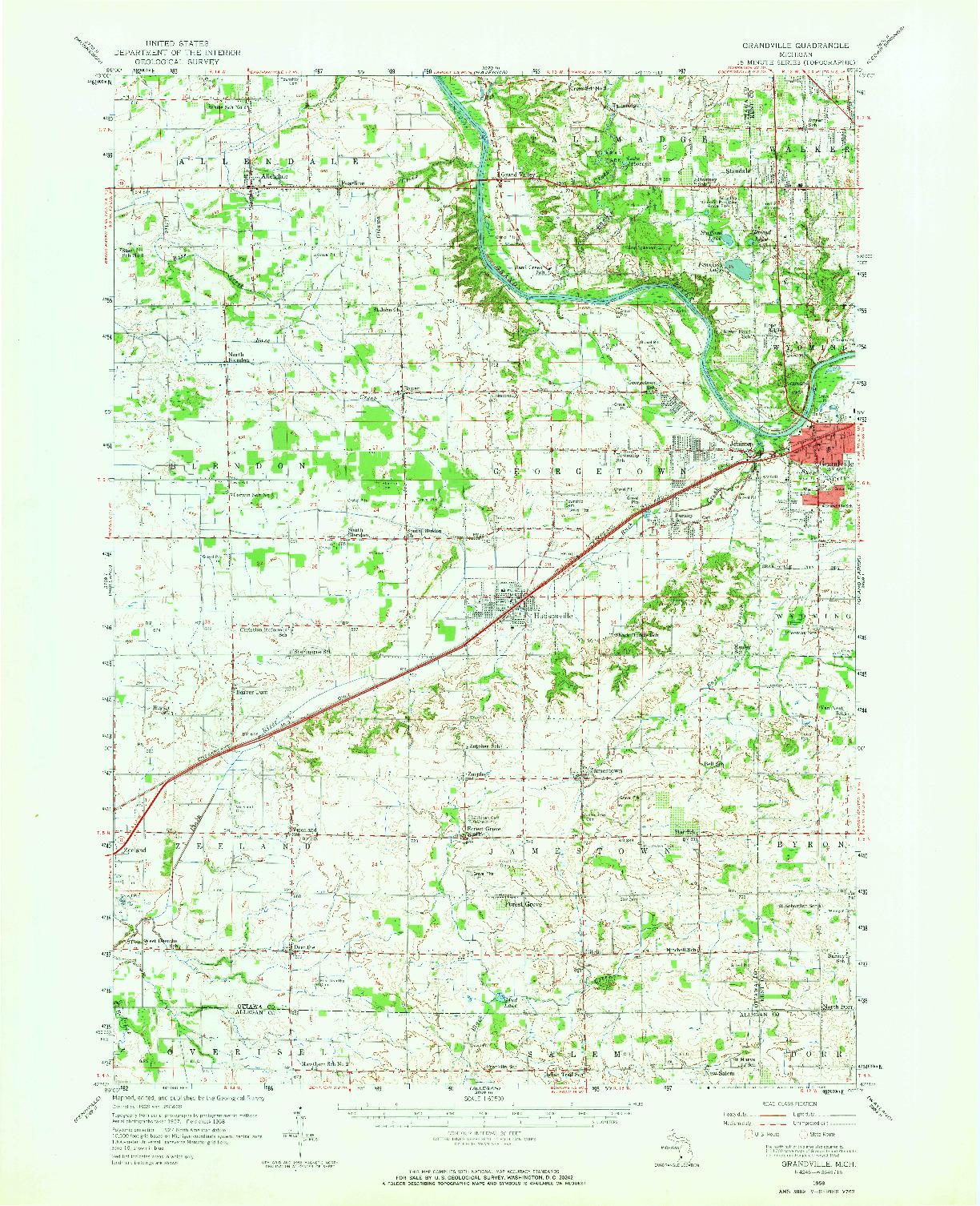 USGS 1:62500-SCALE QUADRANGLE FOR GRANDVILLE, MI 1958