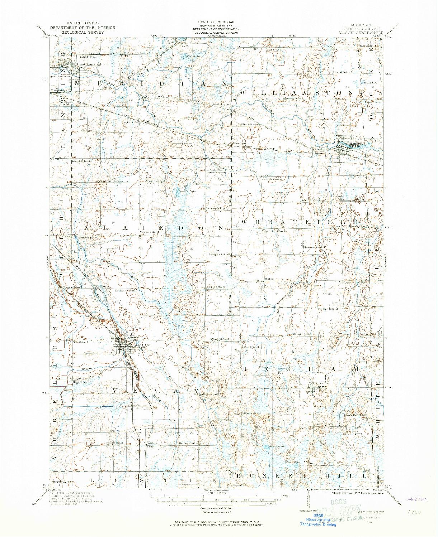 USGS 1:62500-SCALE QUADRANGLE FOR MASON, MI 1909