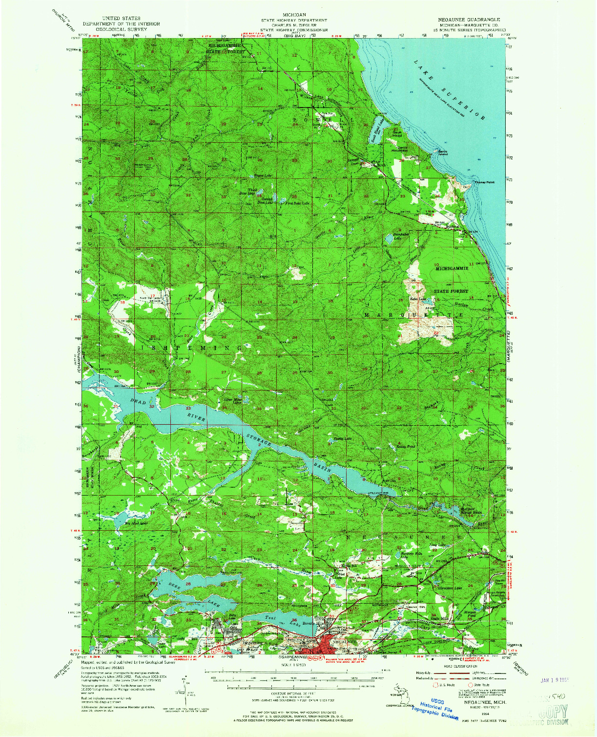 USGS 1:62500-SCALE QUADRANGLE FOR NEGAUNEE, MI 1954