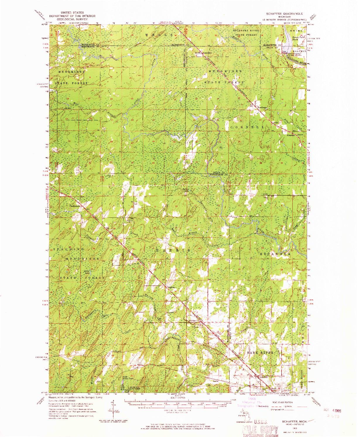 USGS 1:62500-SCALE QUADRANGLE FOR SCHAFFER, MI 1963