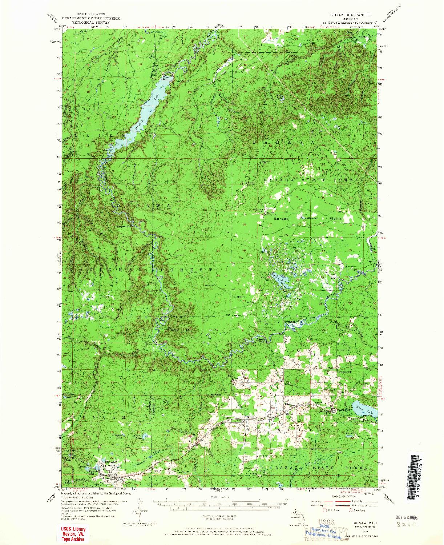 USGS 1:62500-SCALE QUADRANGLE FOR SIDNAW, MI 1954