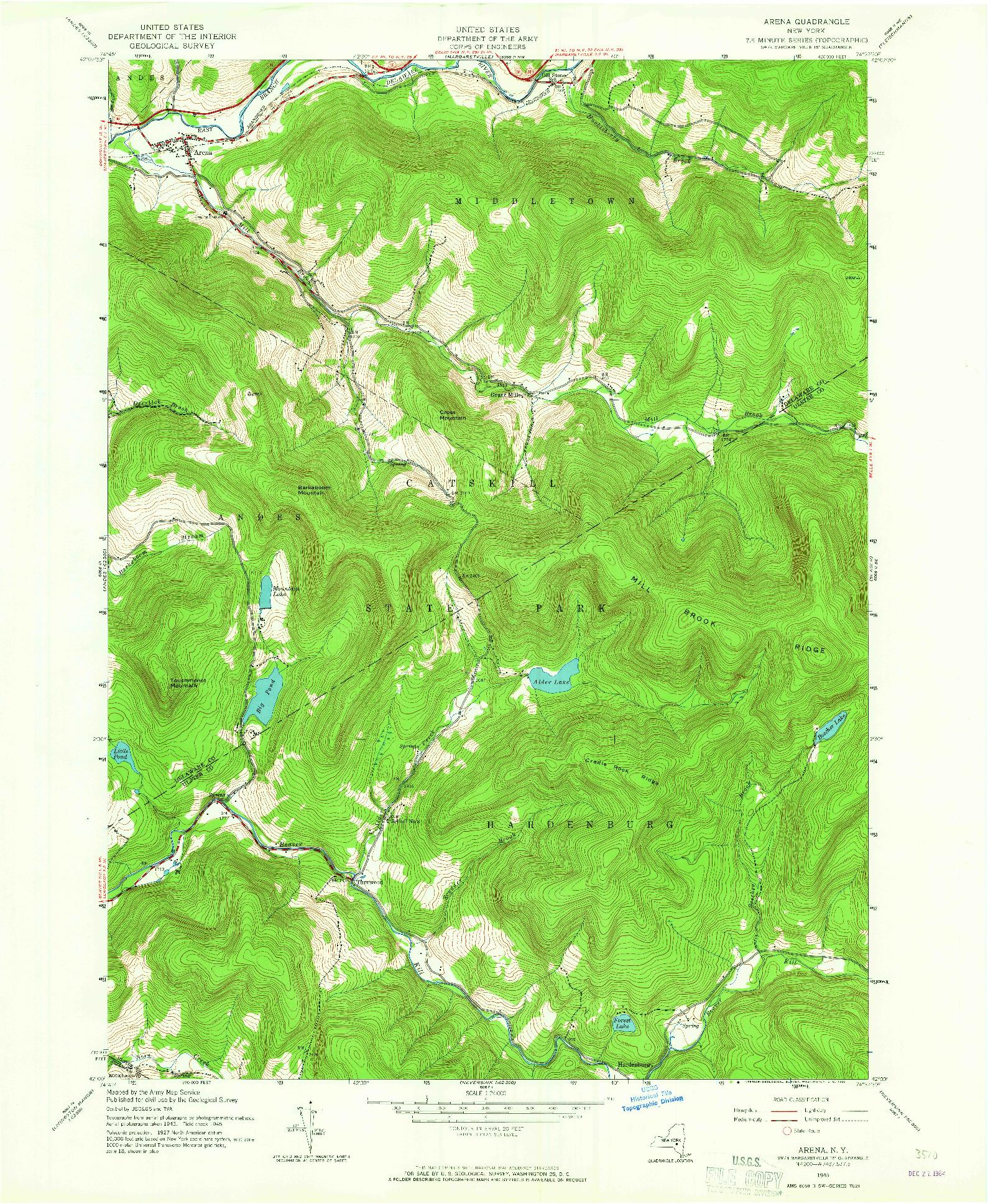 USGS 1:24000-SCALE QUADRANGLE FOR ARENA, NY 1945