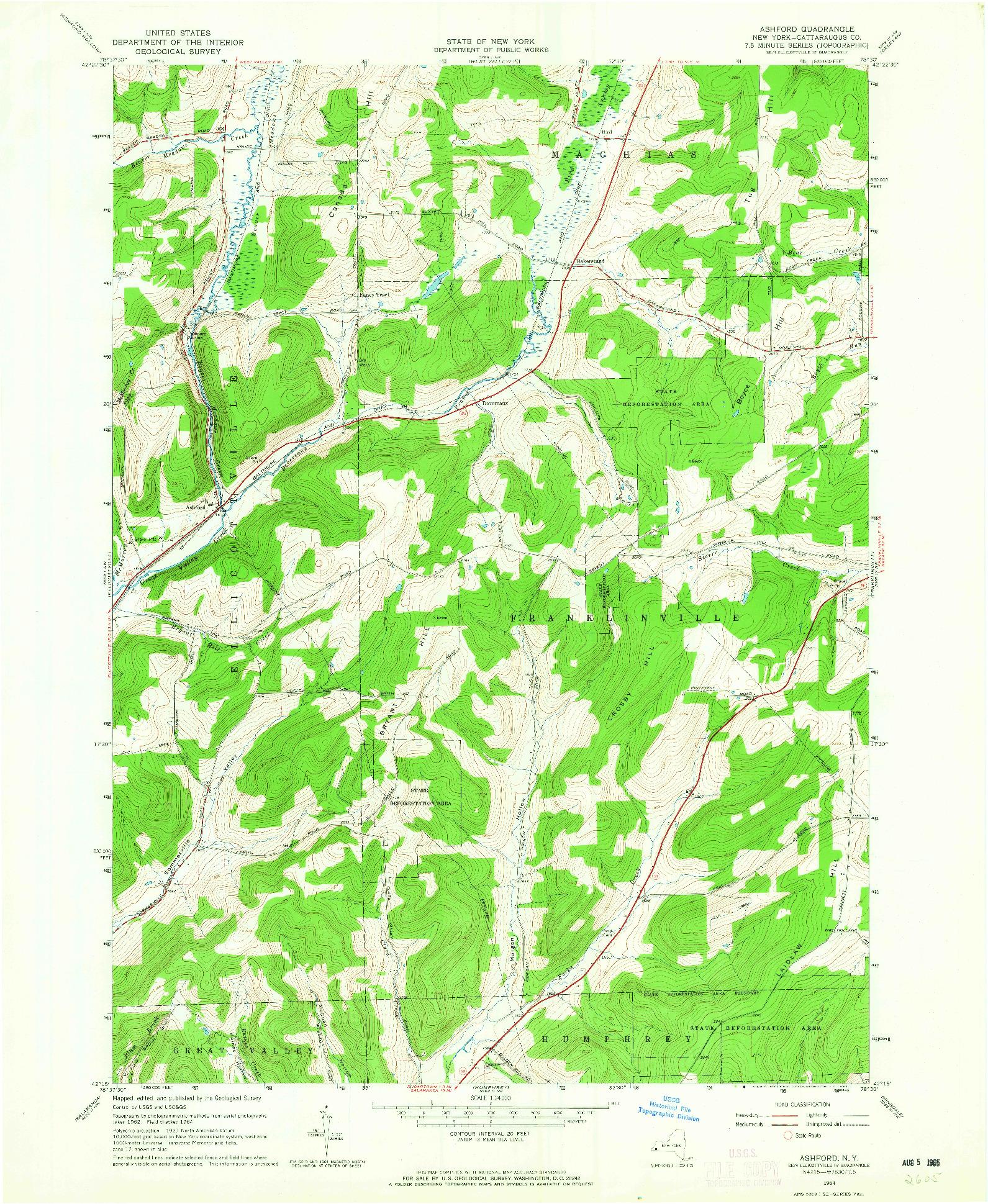 USGS 1:24000-SCALE QUADRANGLE FOR ASHFORD, NY 1964