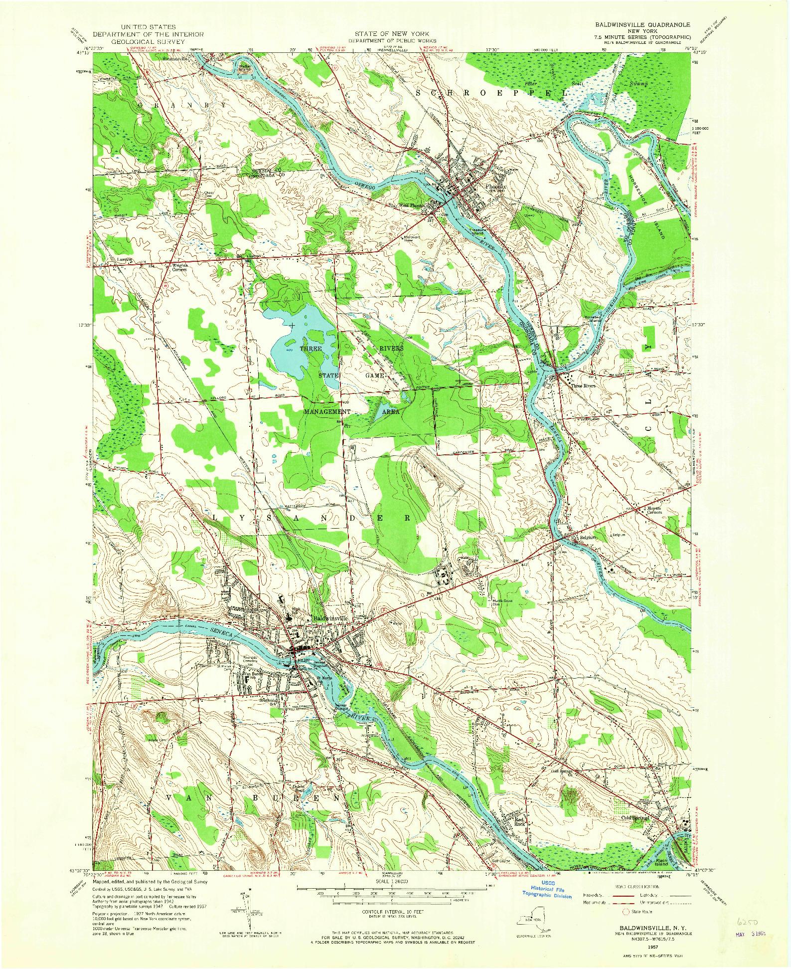 USGS 1:24000-SCALE QUADRANGLE FOR BALDWINSVILLE, NY 1957