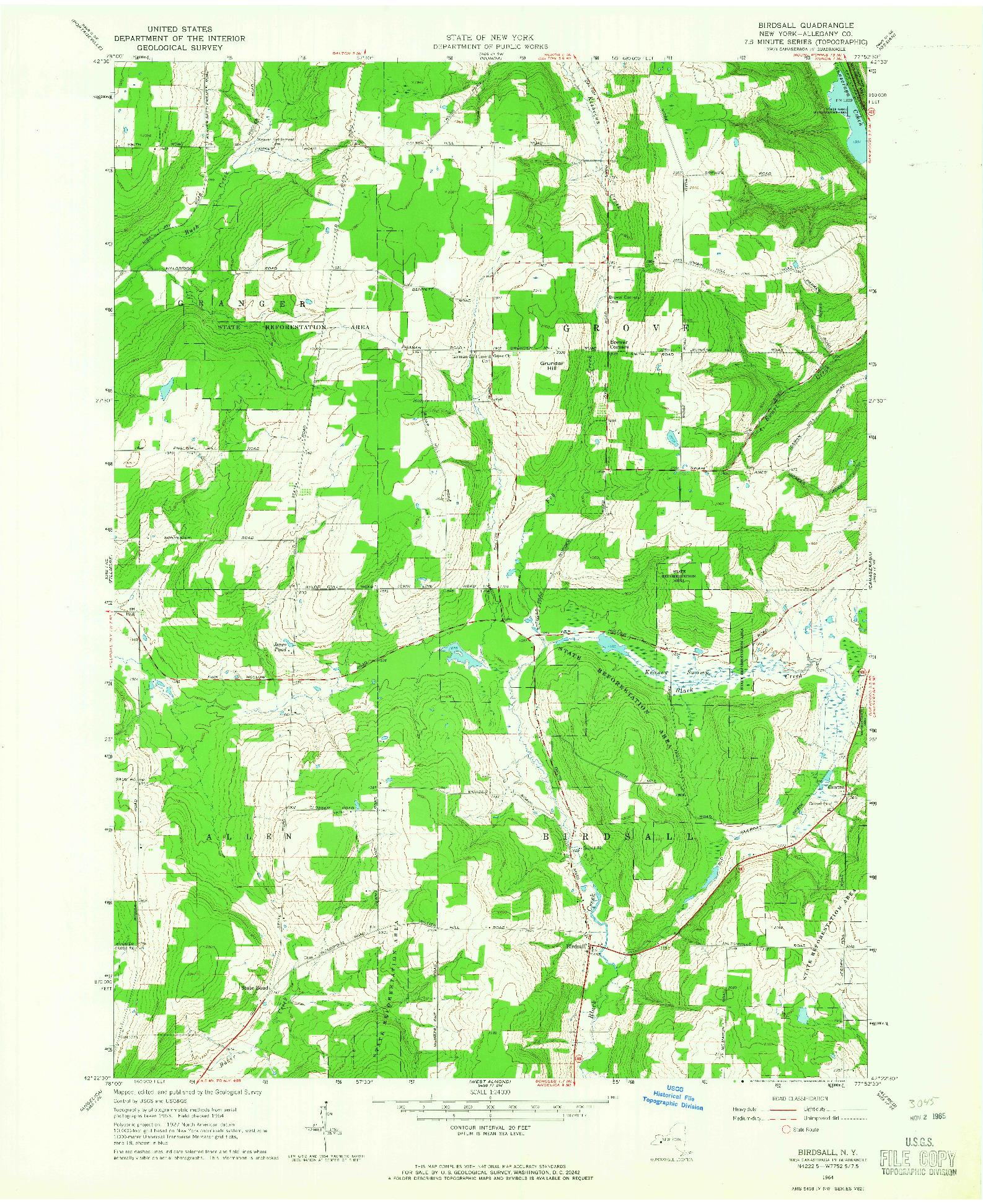 USGS 1:24000-SCALE QUADRANGLE FOR BIRDSALL, NY 1964