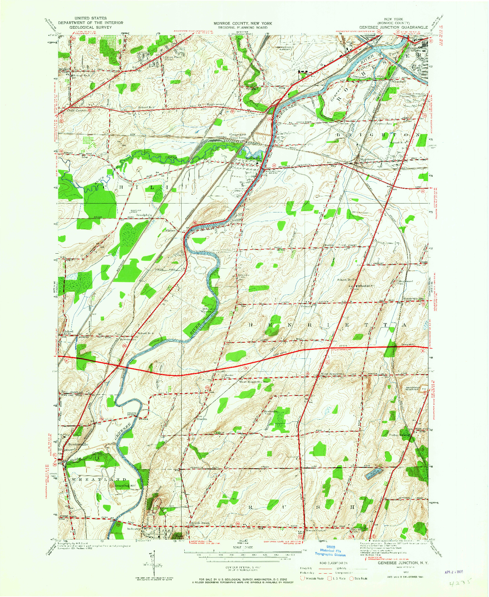 USGS 1:24000-SCALE QUADRANGLE FOR GENESEE JUNCTION, NY 1952