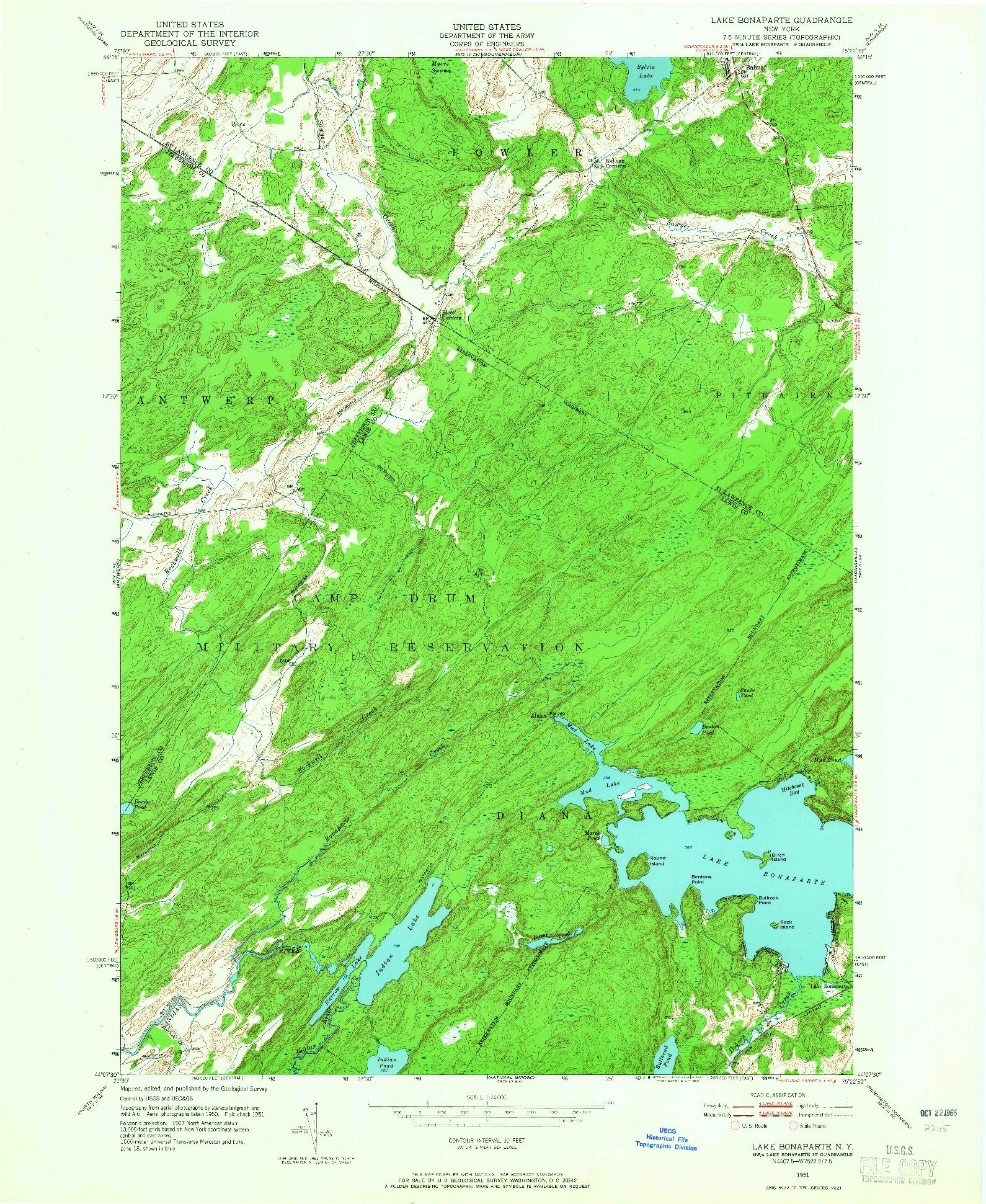 USGS 1:24000-SCALE QUADRANGLE FOR LAKE BONAPARTE, NY 1951