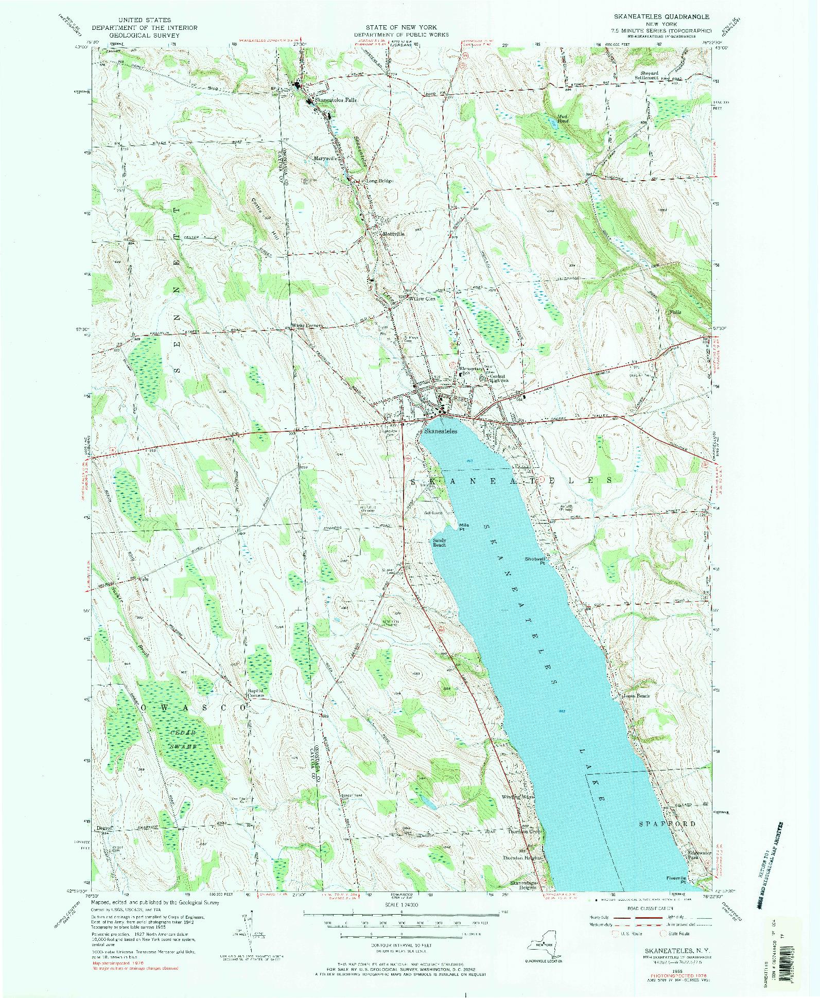 USGS 1:24000-SCALE QUADRANGLE FOR SKANEATELES, NY 1955