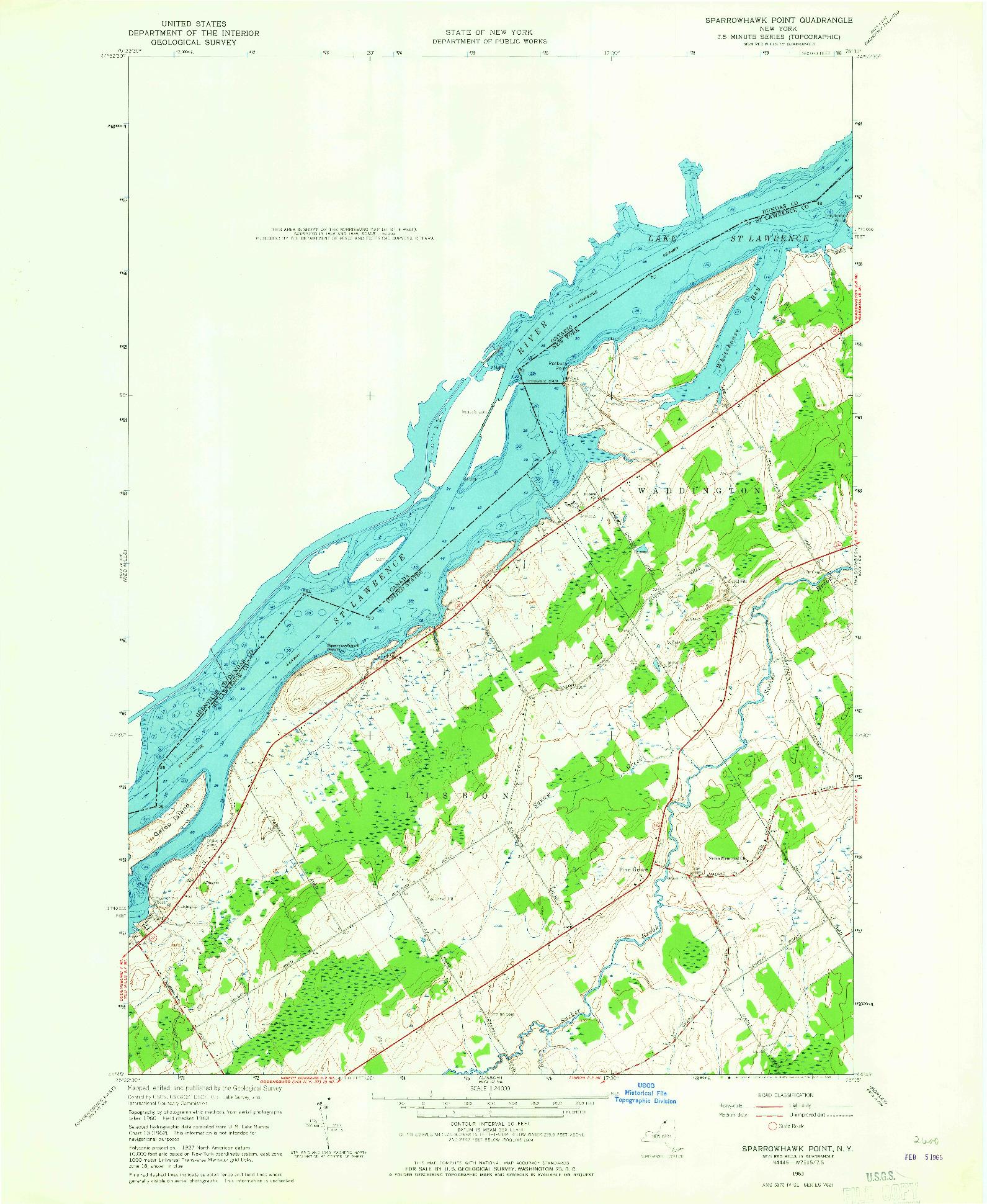 USGS 1:24000-SCALE QUADRANGLE FOR SPARROWHAWK POINT, NY 1963
