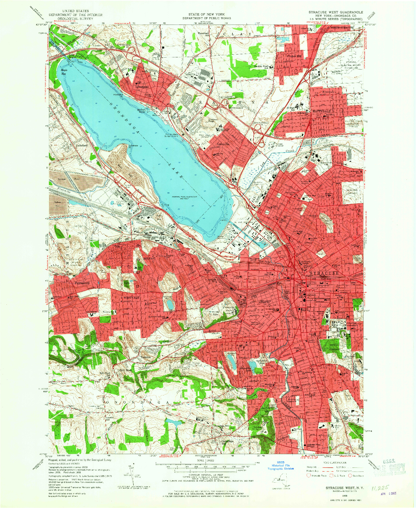 USGS 1:24000-SCALE QUADRANGLE FOR SYRACUSE WEST, NY 1958