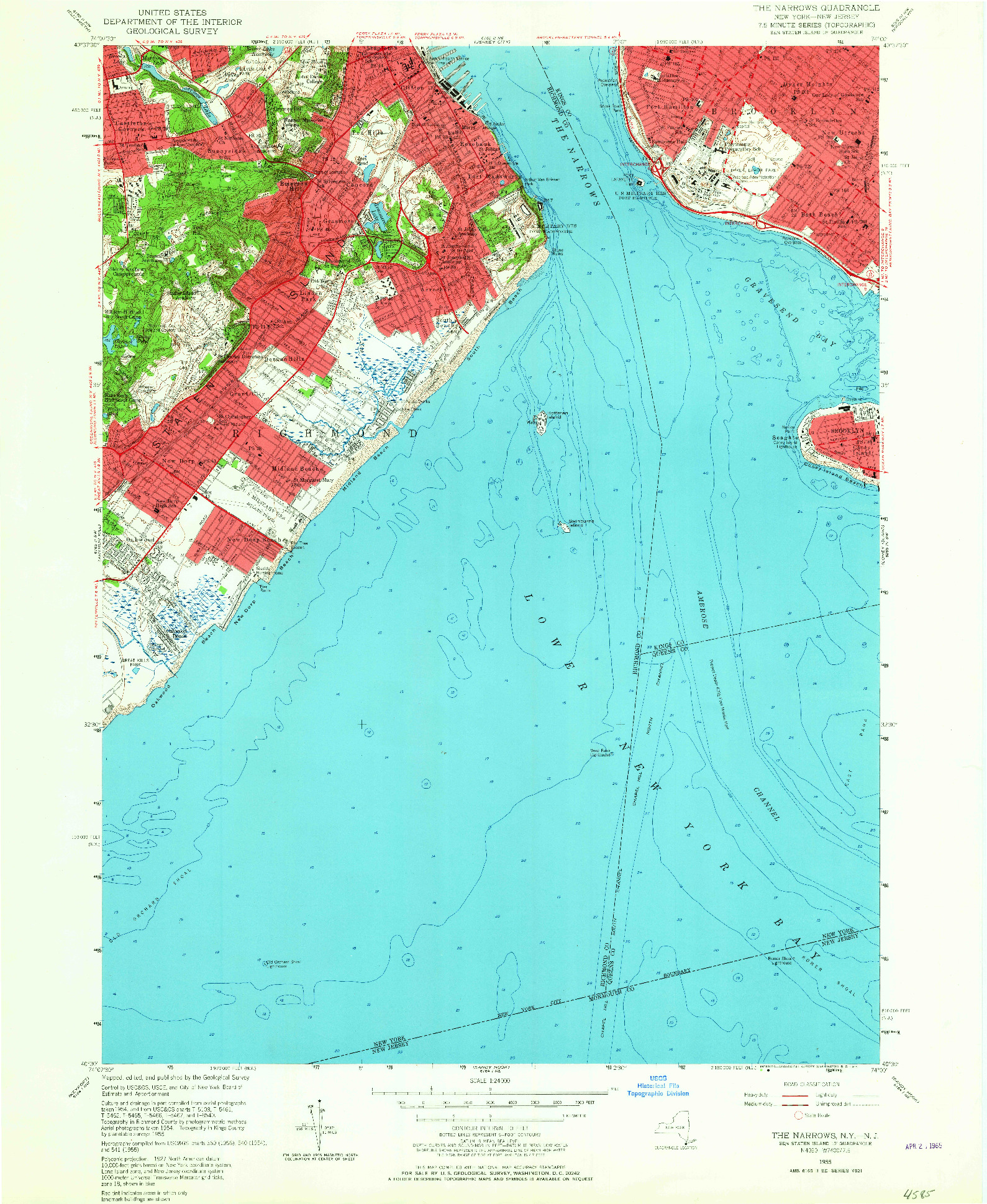 USGS 1:24000-SCALE QUADRANGLE FOR THE NARROWS, NY 1955
