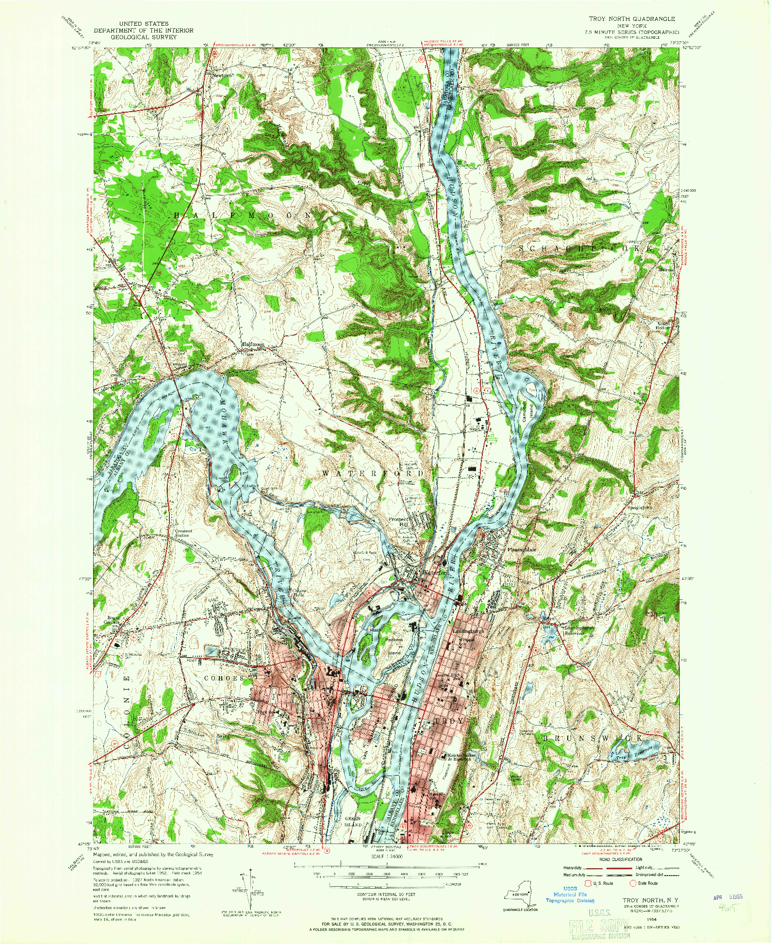 USGS 1:24000-SCALE QUADRANGLE FOR TROY NORTH, NY 1954