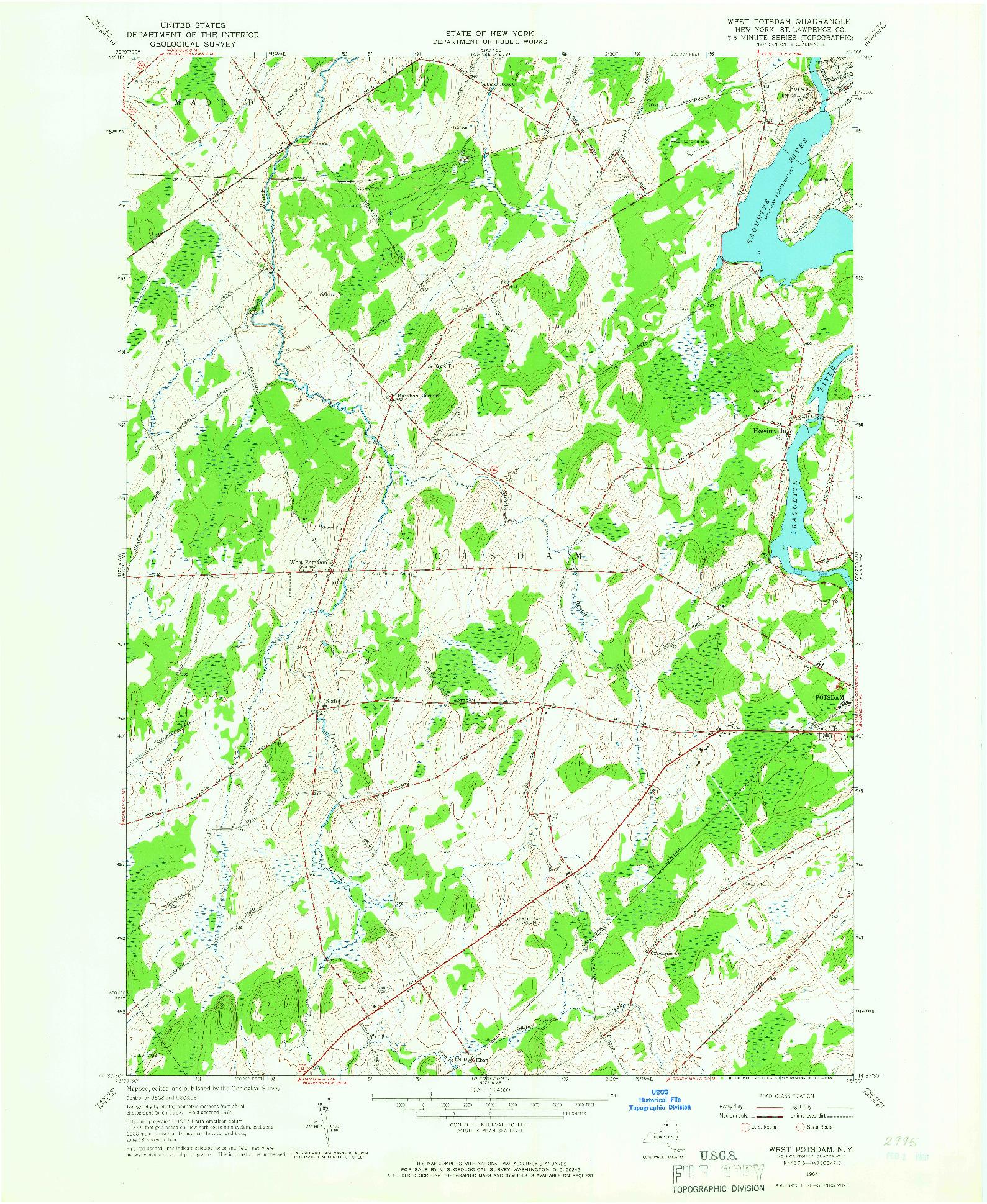 USGS 1:24000-SCALE QUADRANGLE FOR WEST POTSDAM, NY 1964