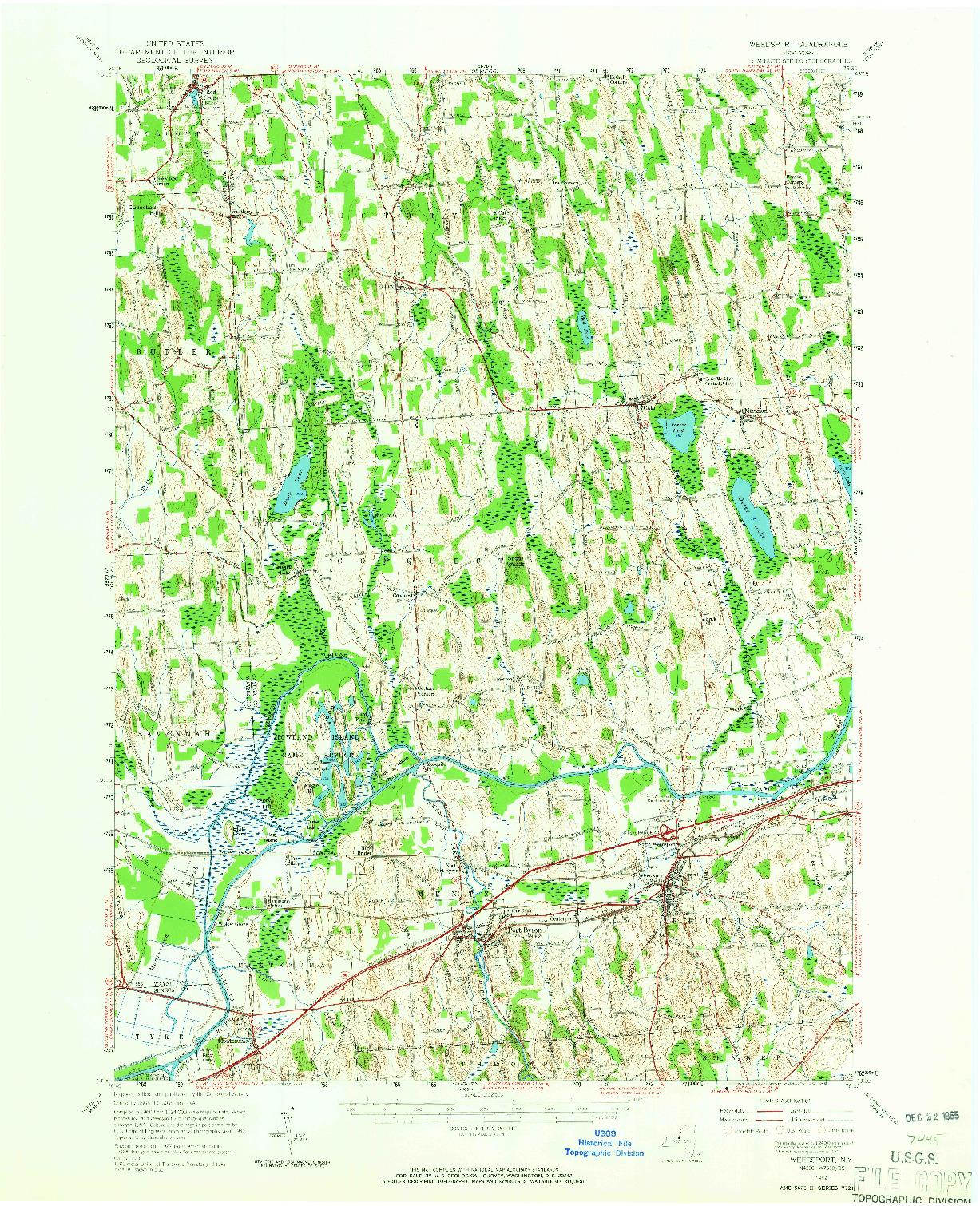 USGS 1:62500-SCALE QUADRANGLE FOR WEEDSPORT, NY 1954