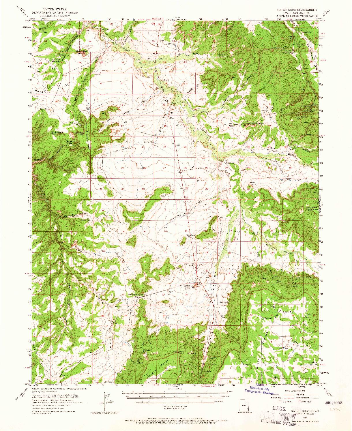 USGS 1:62500-SCALE QUADRANGLE FOR HATCH ROCK, UT 1954