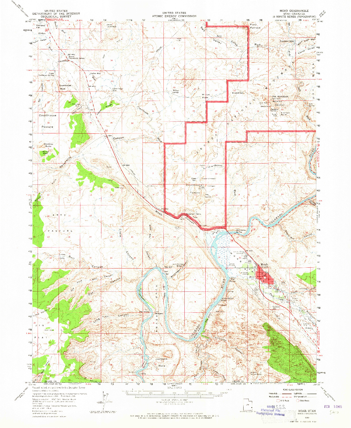 USGS 1:62500-SCALE QUADRANGLE FOR MOAB, UT 1959