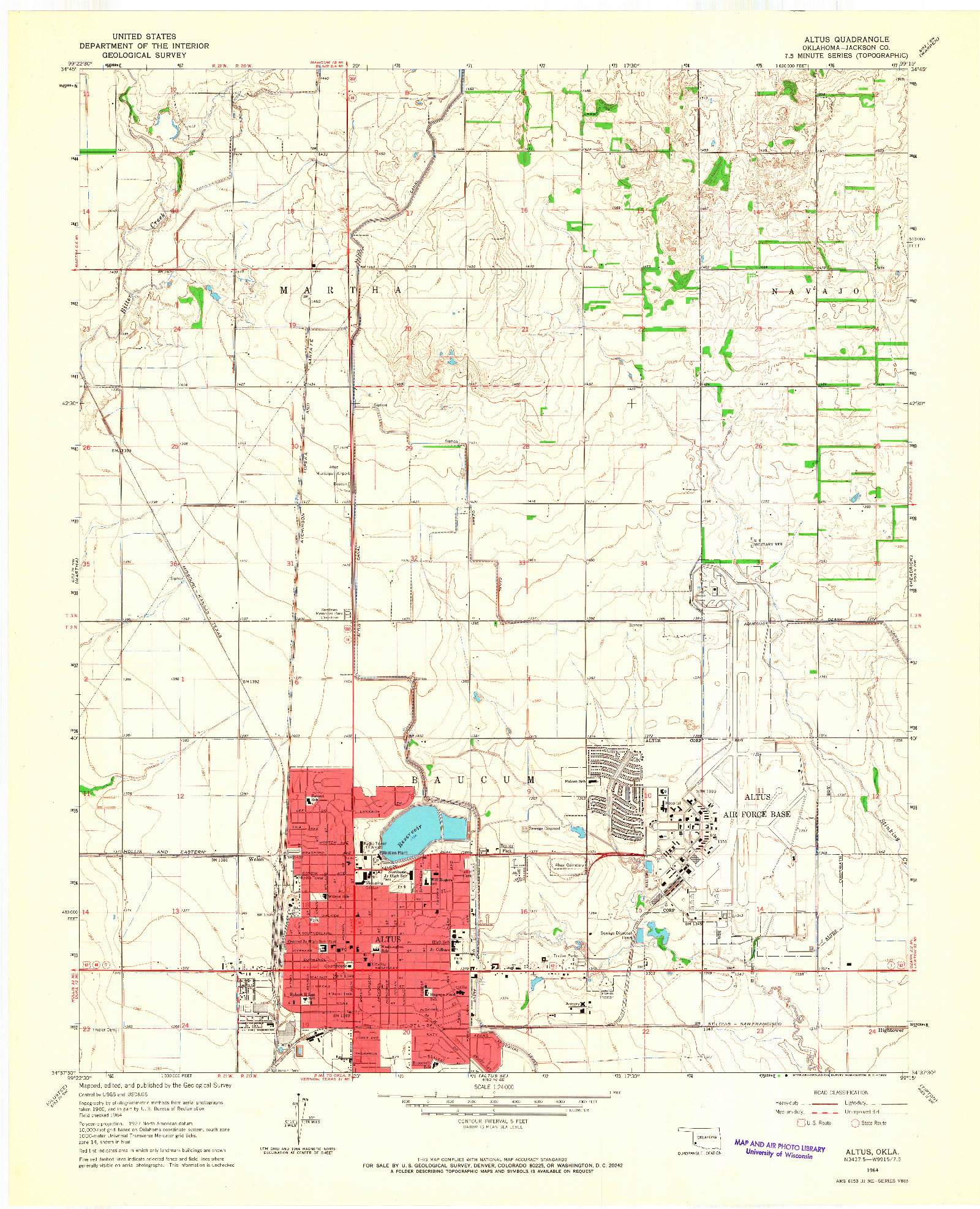 USGS 1:24000-SCALE QUADRANGLE FOR ALTUS, OK 1964