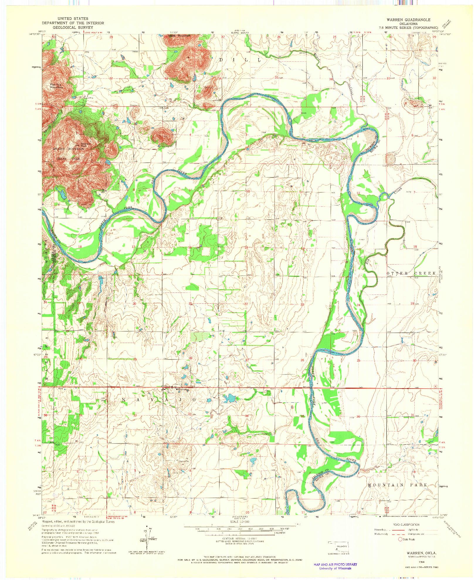 USGS 1:24000-SCALE QUADRANGLE FOR WARREN, OK 1964