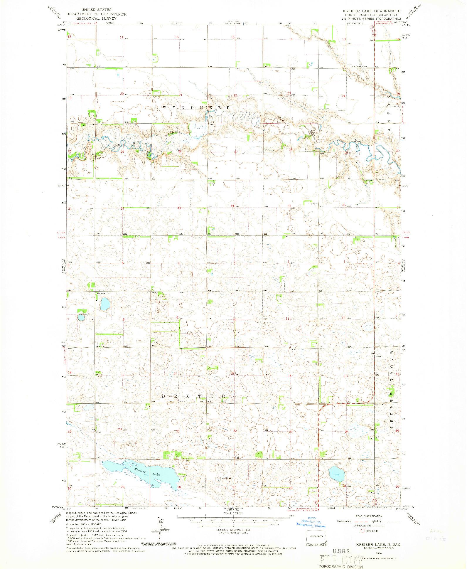 USGS 1:24000-SCALE QUADRANGLE FOR KREISER LAKE, ND 1964