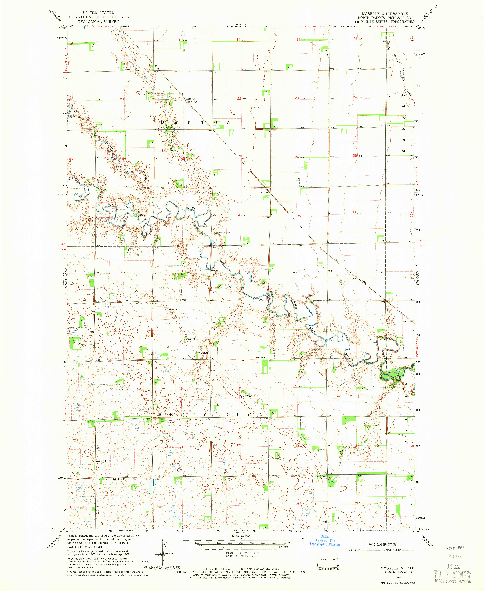 USGS 1:24000-SCALE QUADRANGLE FOR MOSELLE, ND 1964