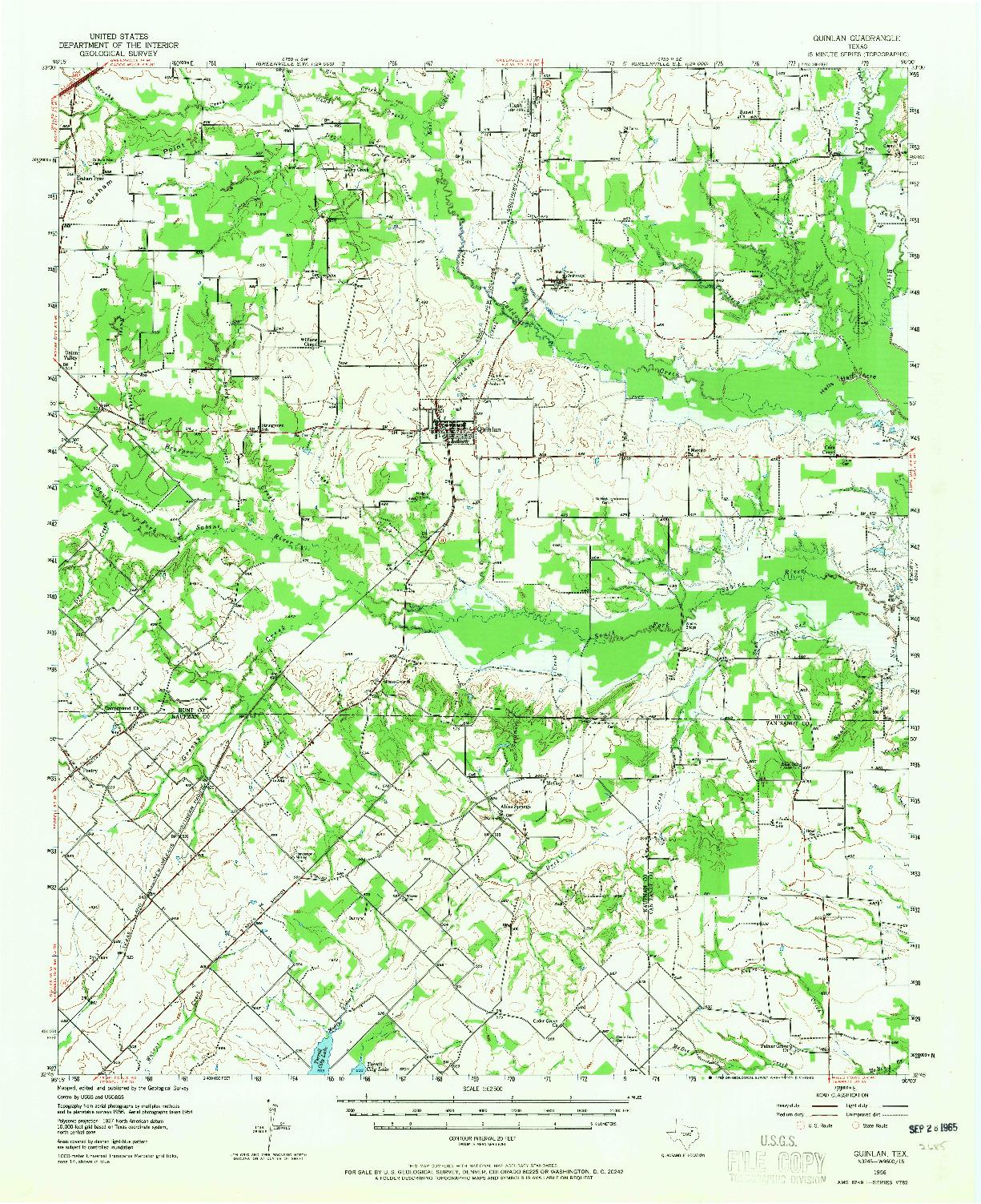 USGS 1:62500-SCALE QUADRANGLE FOR QUINLAN, TX 1956