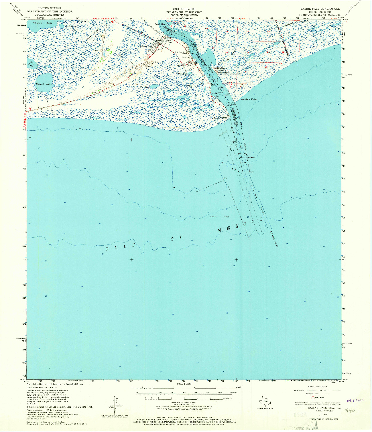 USGS 1:62500-SCALE QUADRANGLE FOR SABINE PASS, TX 1957