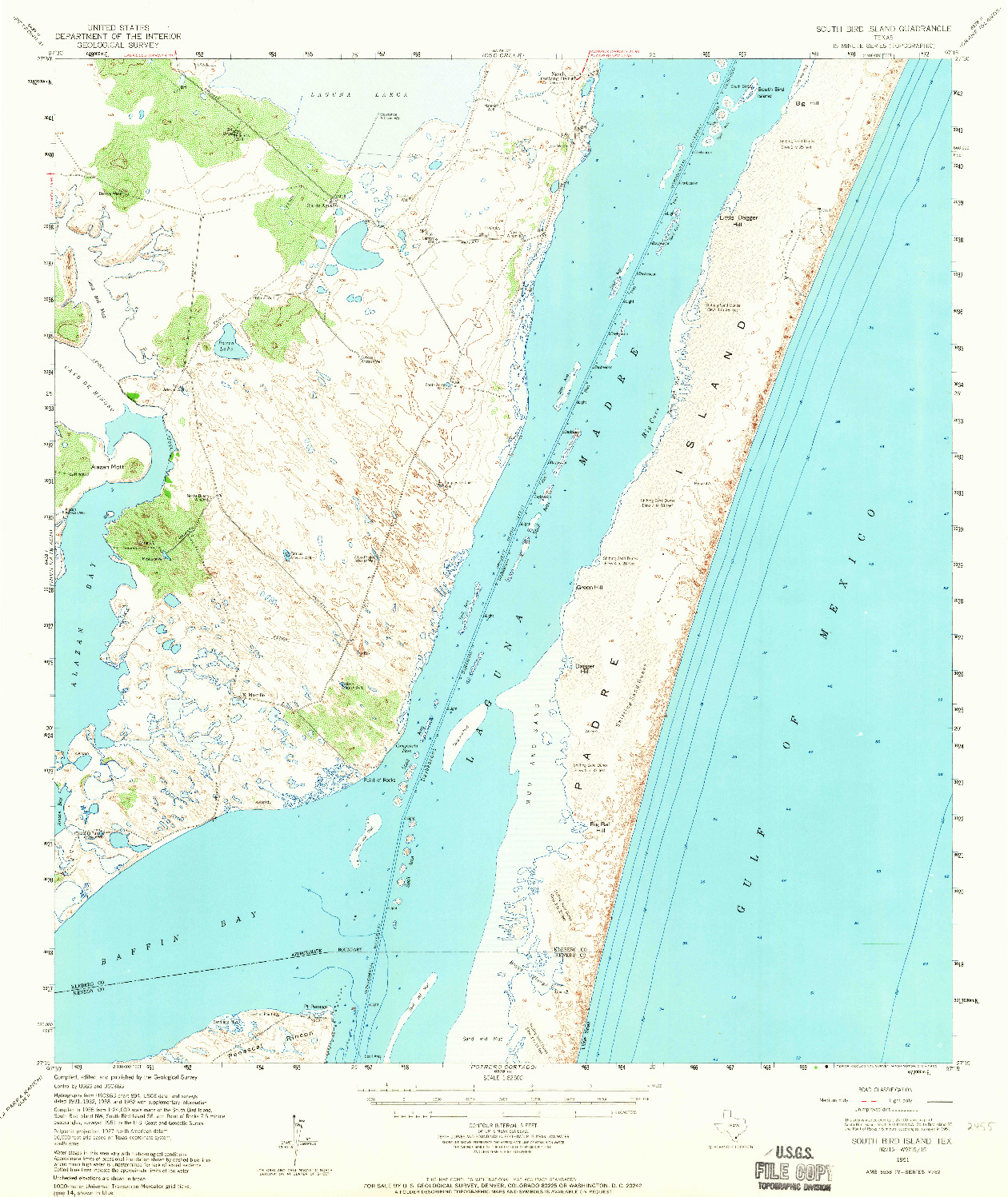 USGS 1:62500-SCALE QUADRANGLE FOR SOUTH BIRD ISLAND, TX 1951