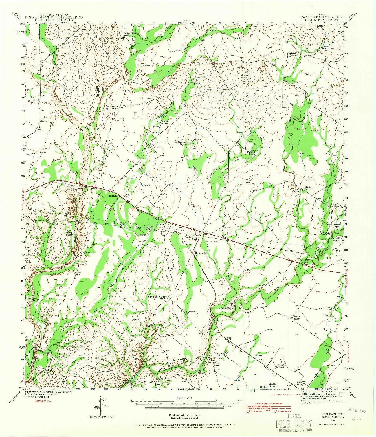 USGS 1:62500-SCALE QUADRANGLE FOR STANDART, TX 1941