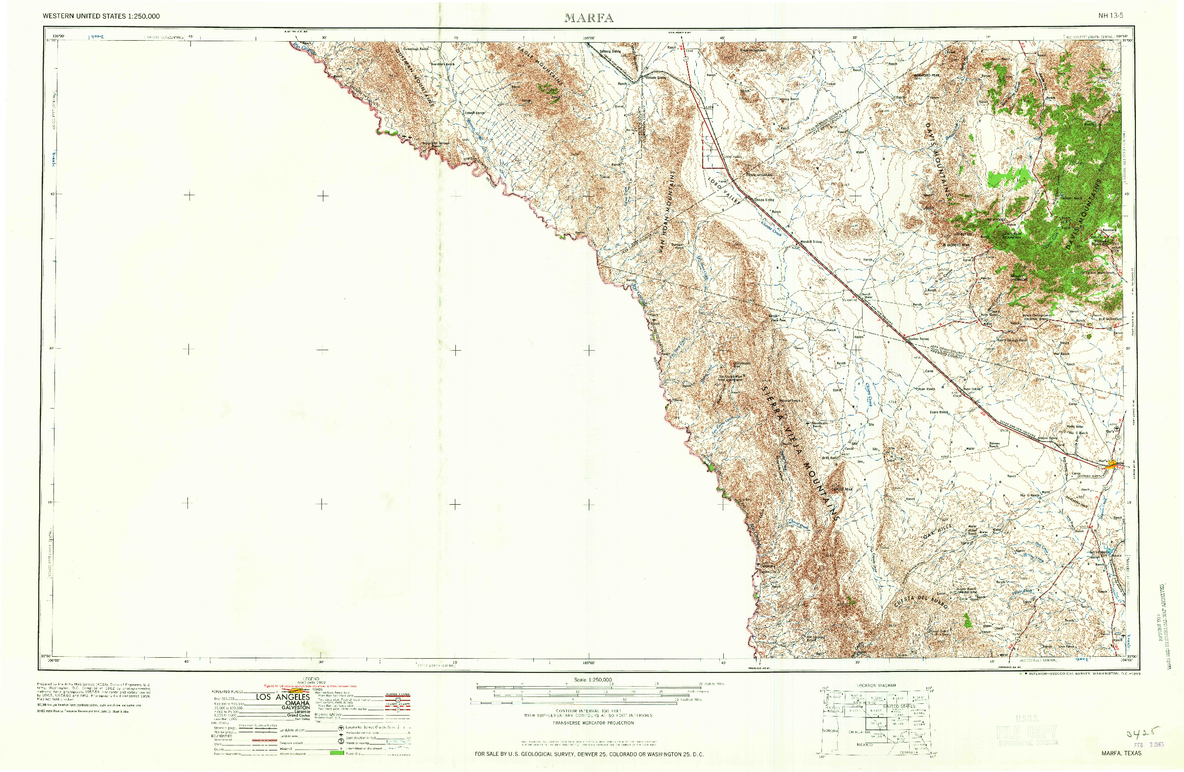 USGS 1:250000-SCALE QUADRANGLE FOR MARFA, TX 1965