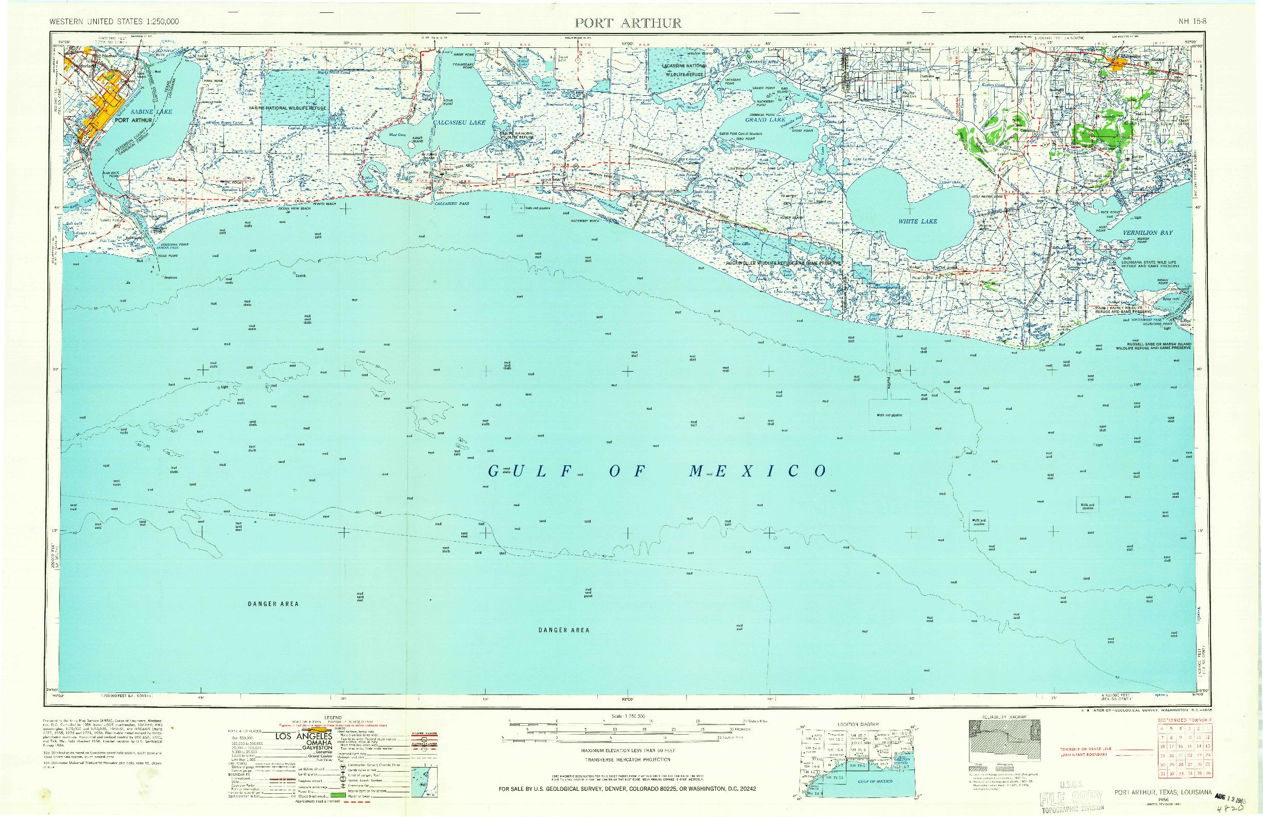 USGS 1:250000-SCALE QUADRANGLE FOR PORT ARTHUR, TX 1956