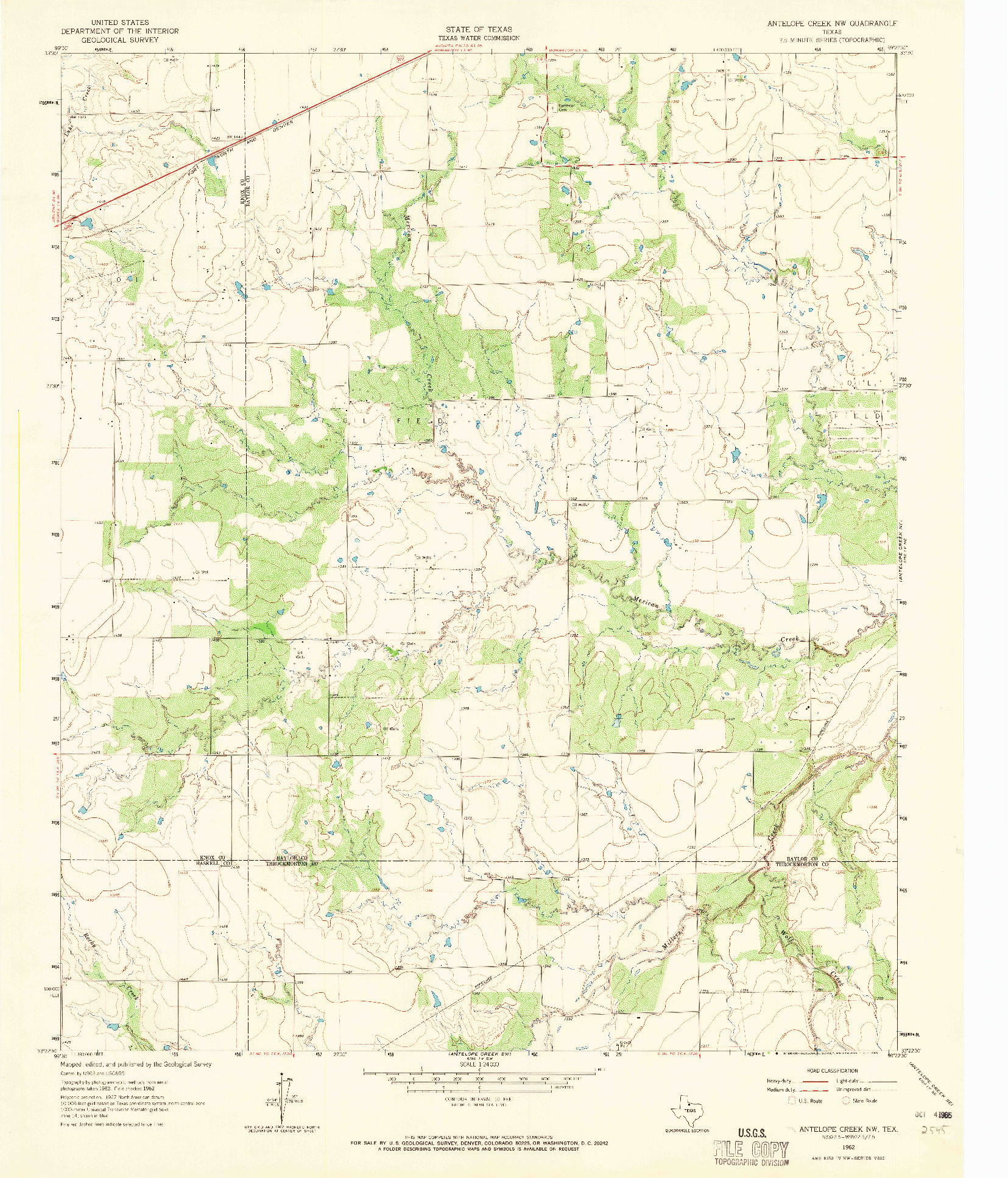 USGS 1:24000-SCALE QUADRANGLE FOR ANTELOPE CREEK NW, TX 1962