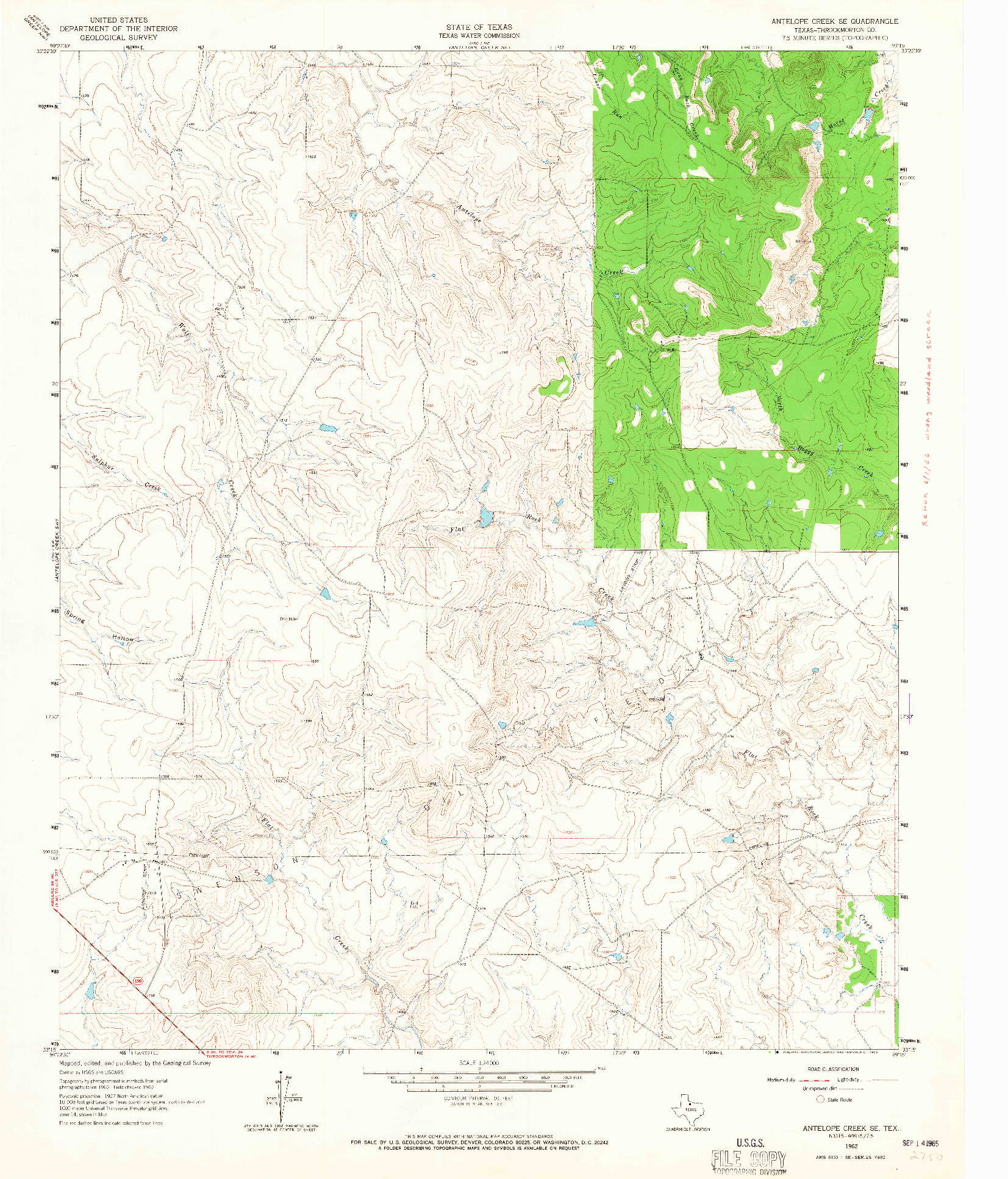 USGS 1:24000-SCALE QUADRANGLE FOR ANTELOPE CREEK SE, TX 1962