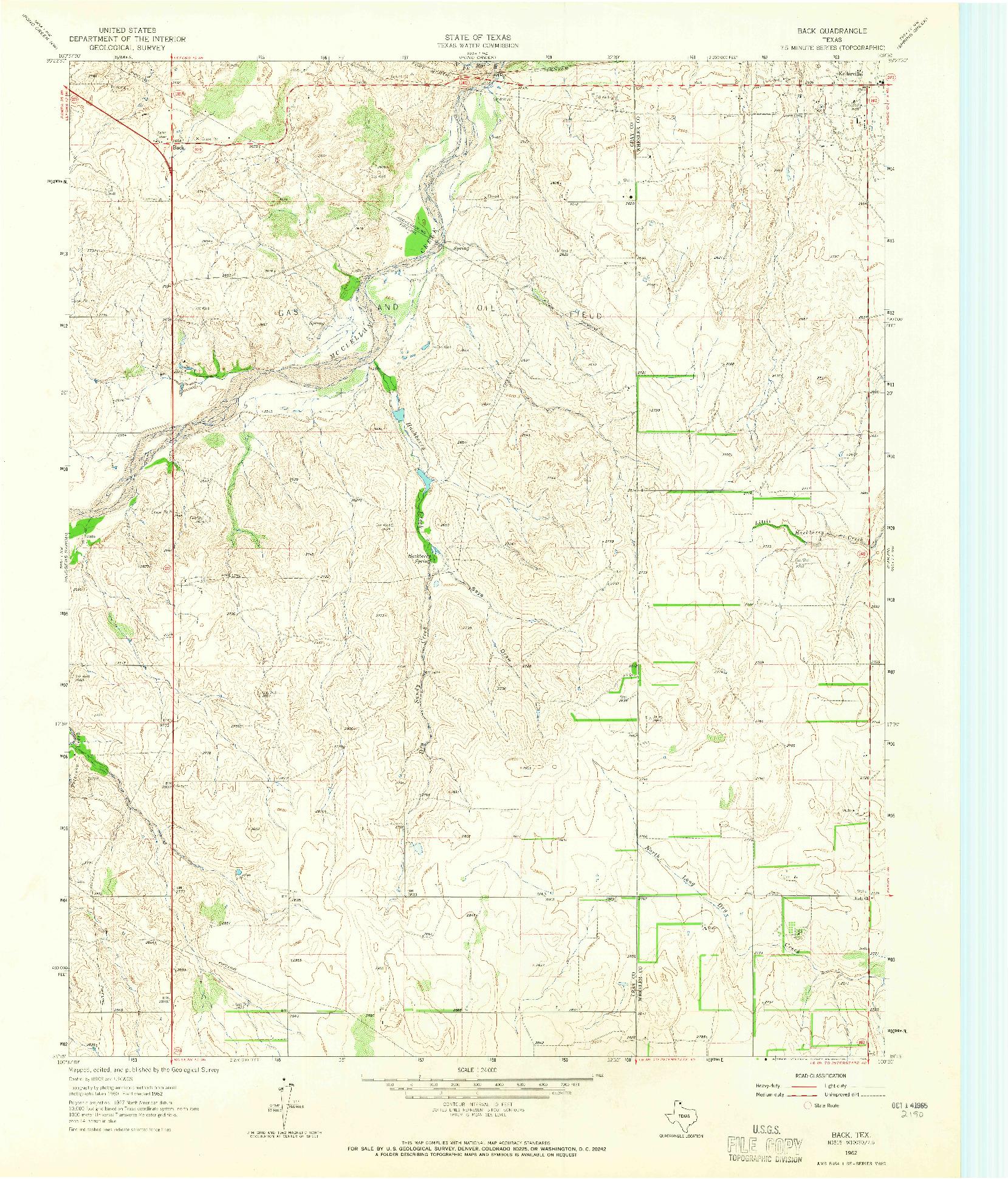 USGS 1:24000-SCALE QUADRANGLE FOR BACK, TX 1962