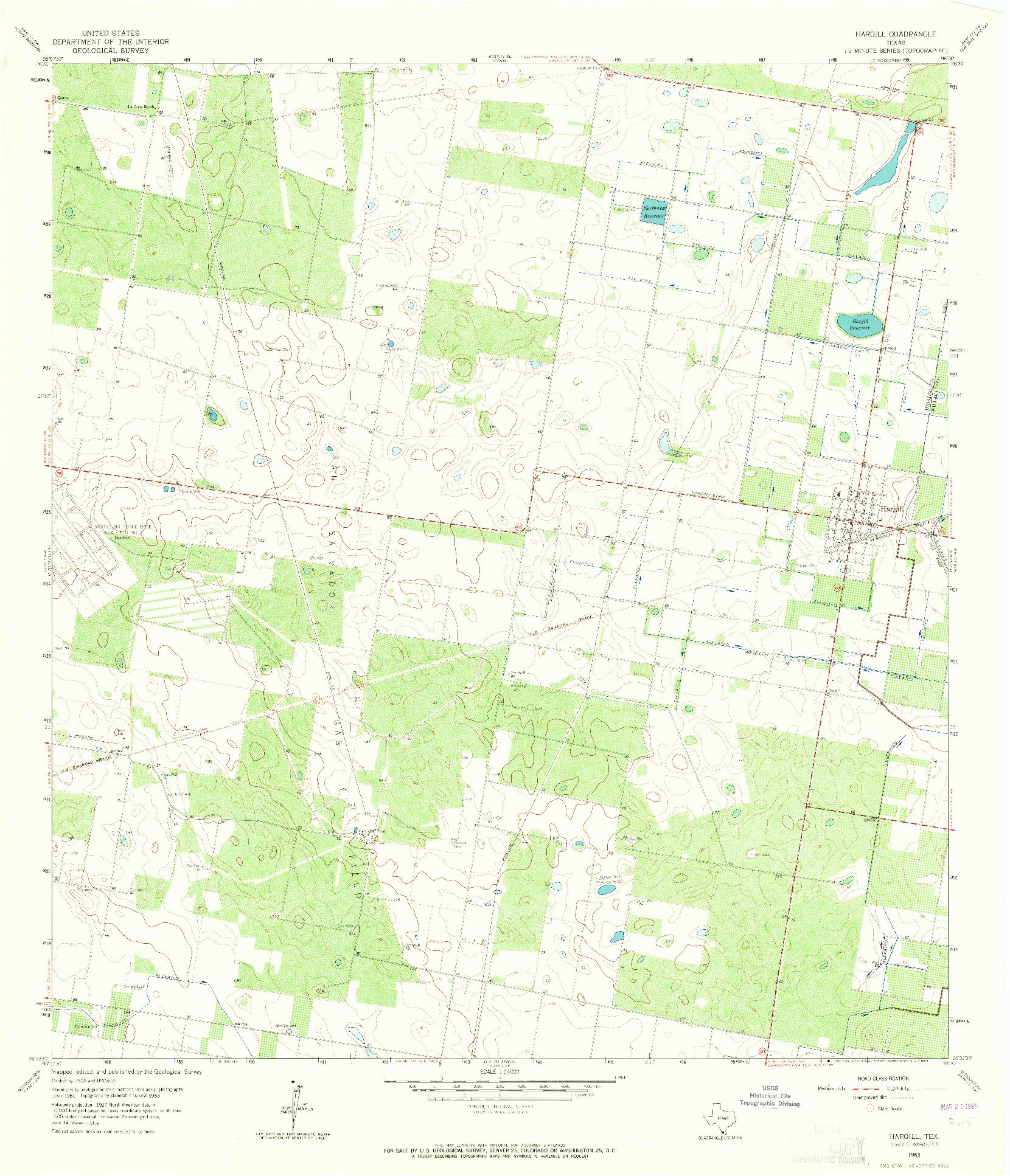 USGS 1:24000-SCALE QUADRANGLE FOR HARGILL, TX 1963