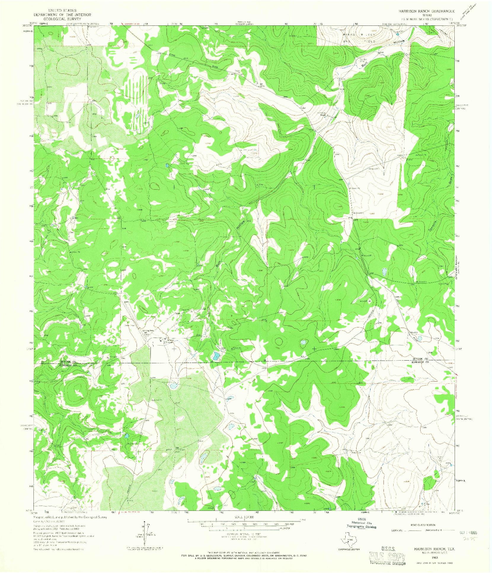USGS 1:24000-SCALE QUADRANGLE FOR HARRISON RANCH, TX 1963