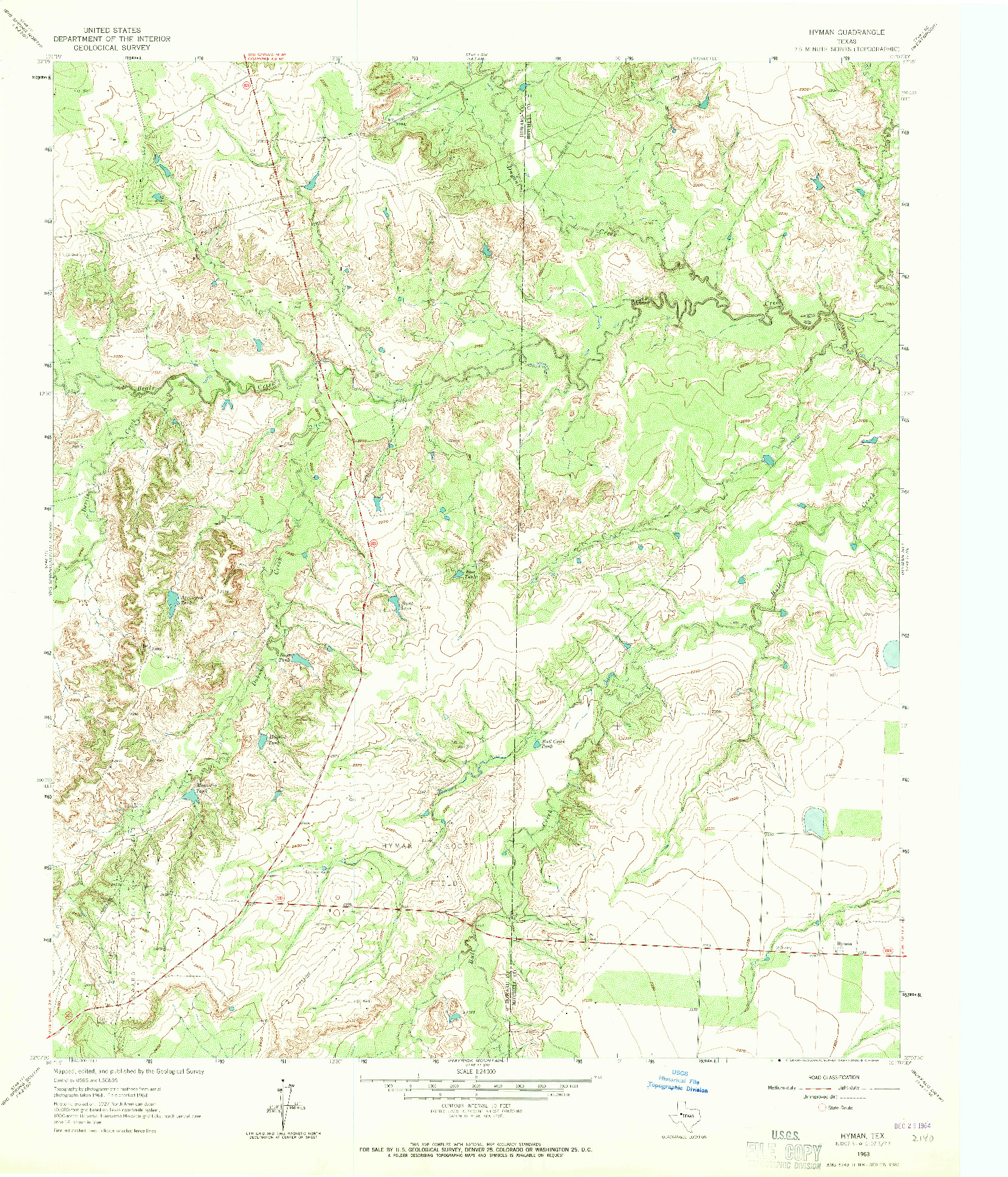USGS 1:24000-SCALE QUADRANGLE FOR HYMAN, TX 1963