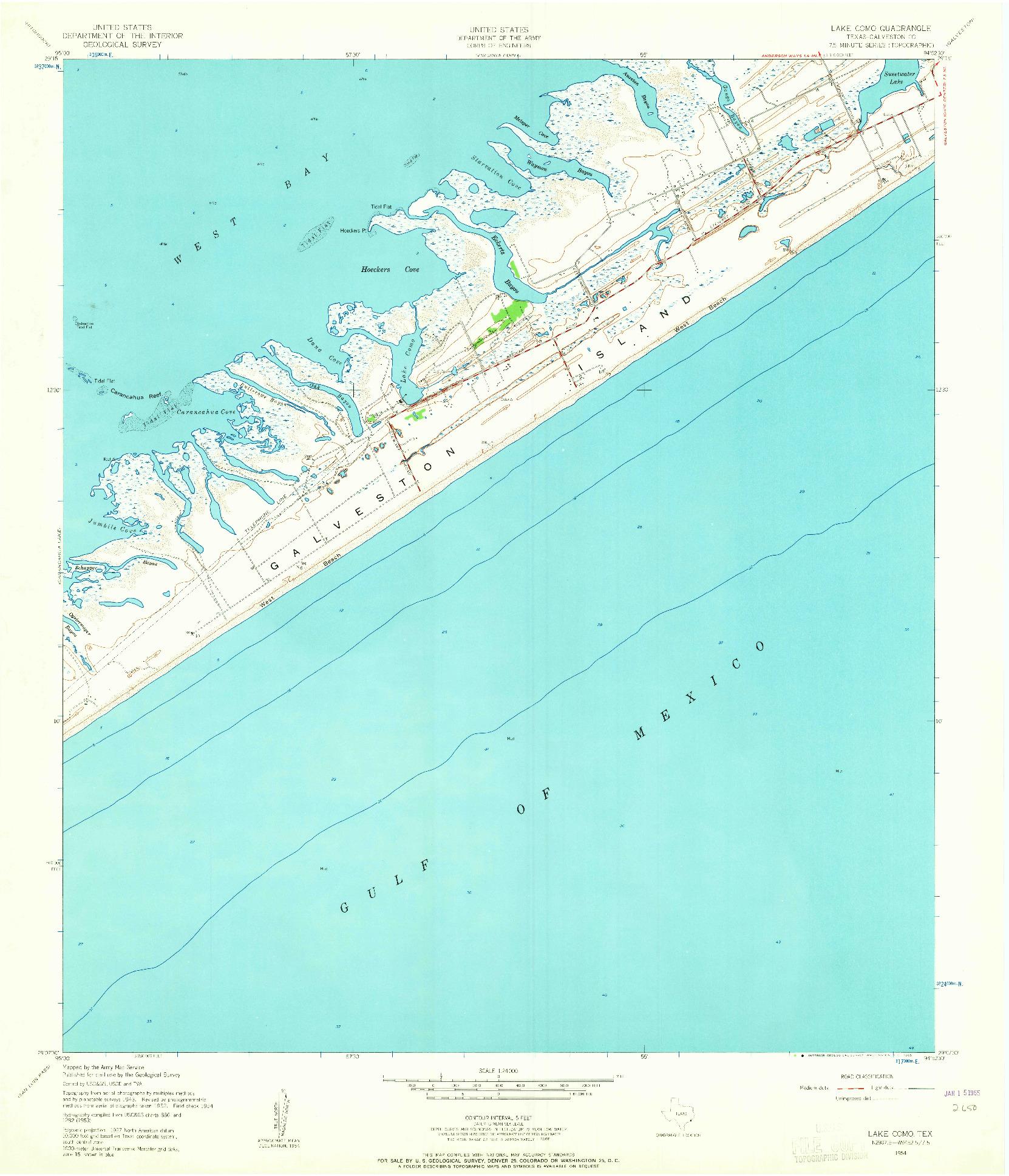 USGS 1:24000-SCALE QUADRANGLE FOR LAKE COMO, TX 1954